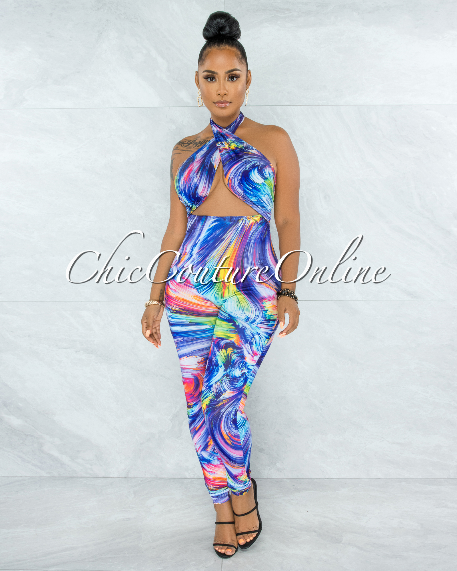 Naeva Rainbow Psychedelic Print Halter Cut-Out Jumpsuit