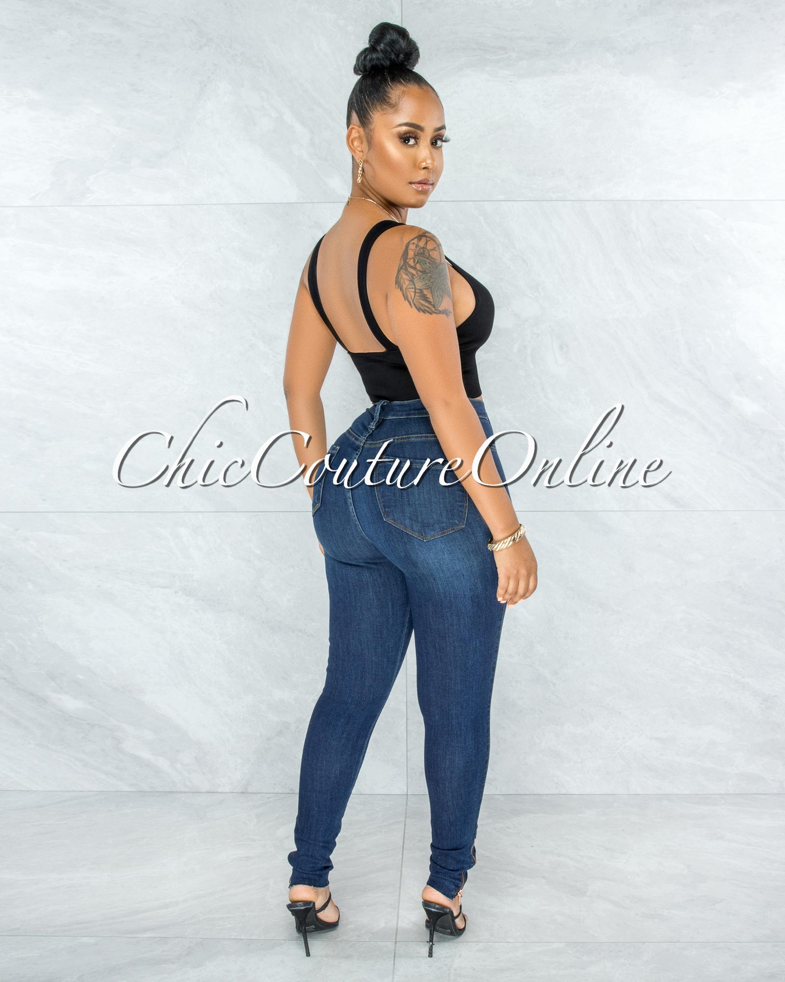 Harriet Dark Blue High Waist Rose Gold Buttons Jeans