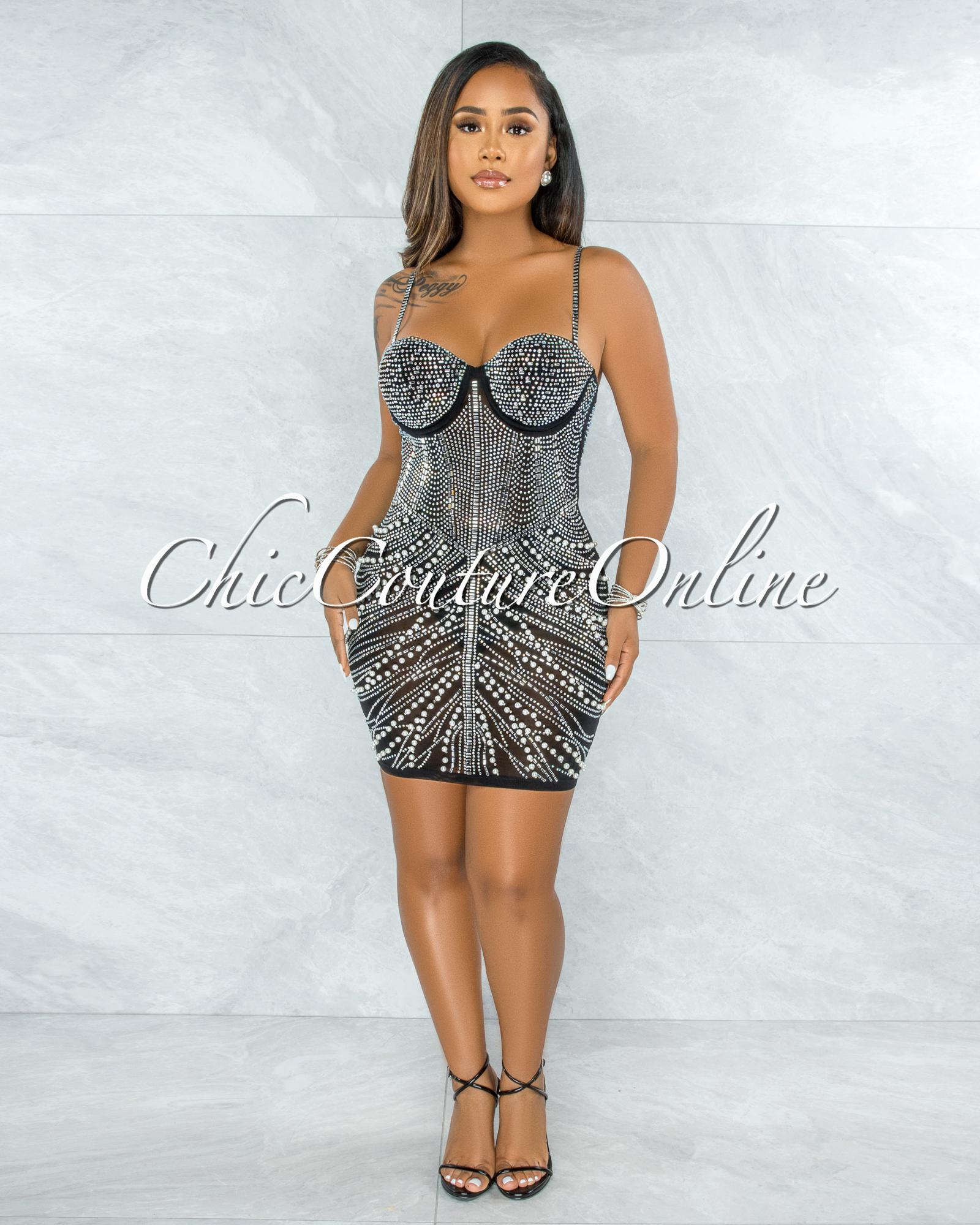 Peron Black Mesh Silver Studs Mini Dress
