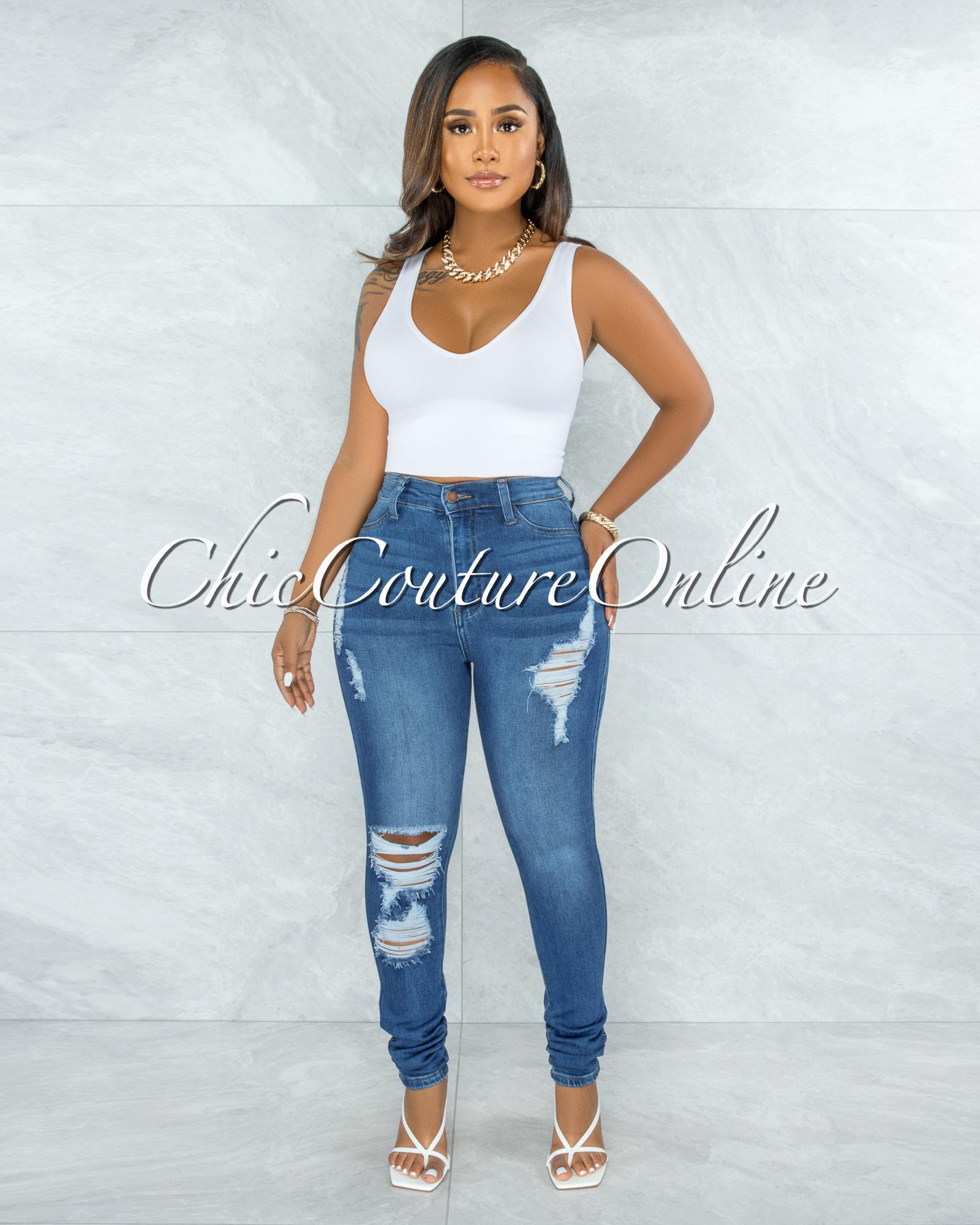 Electra Medium Denim High-Waist Distressed Skinny Jeans