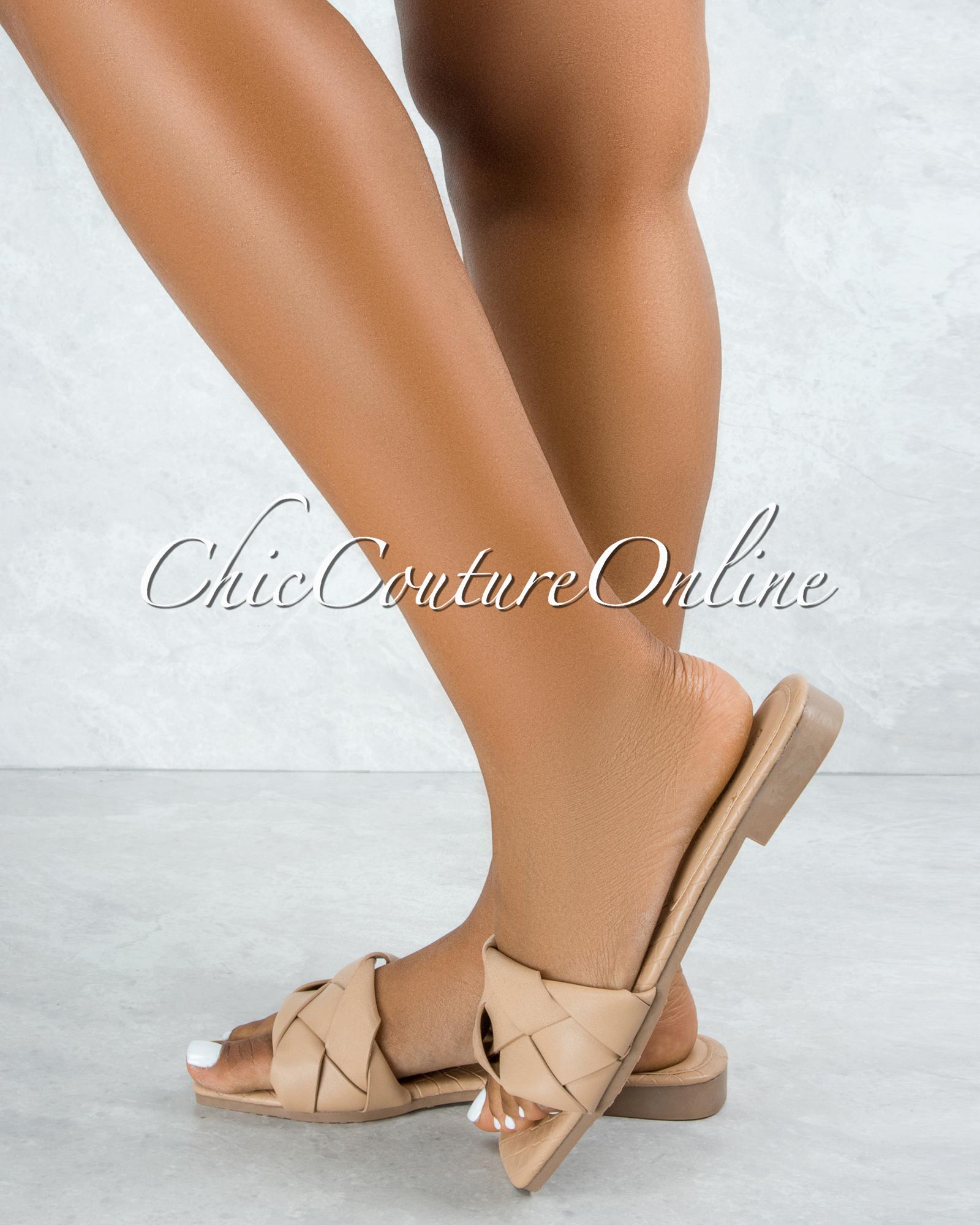 Deja Nude Braided Upper Slides