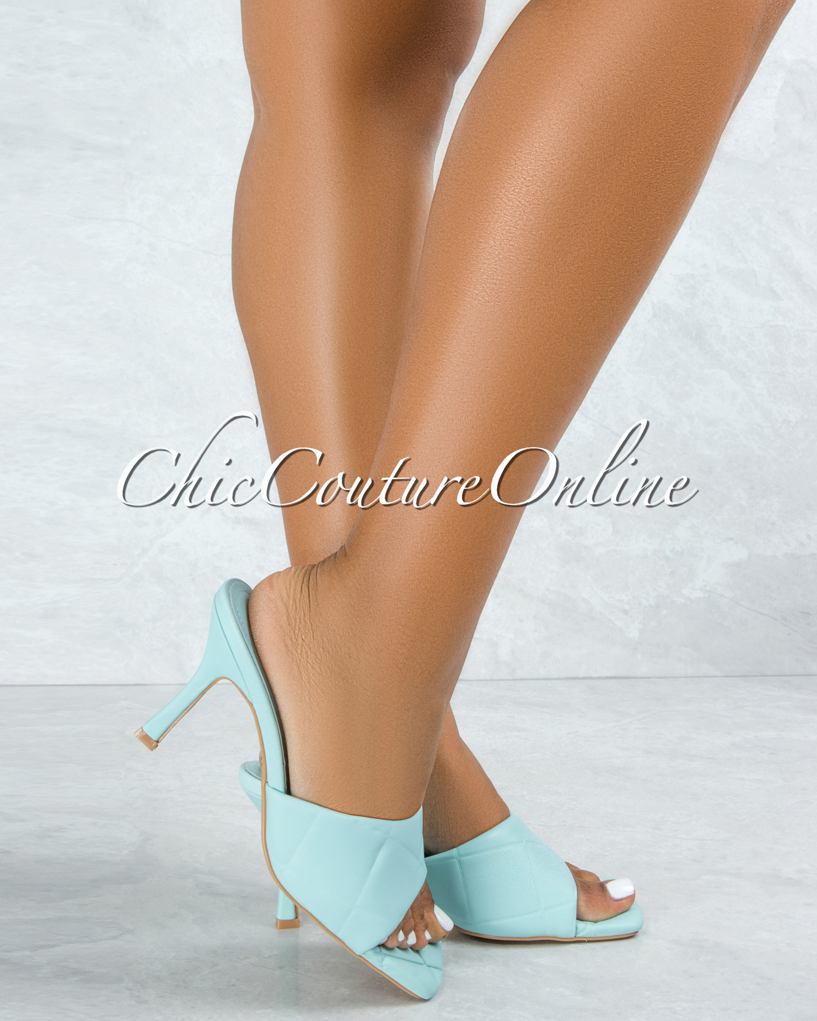 Rolex Baby Blue Quilted Upper Square Toe Heels