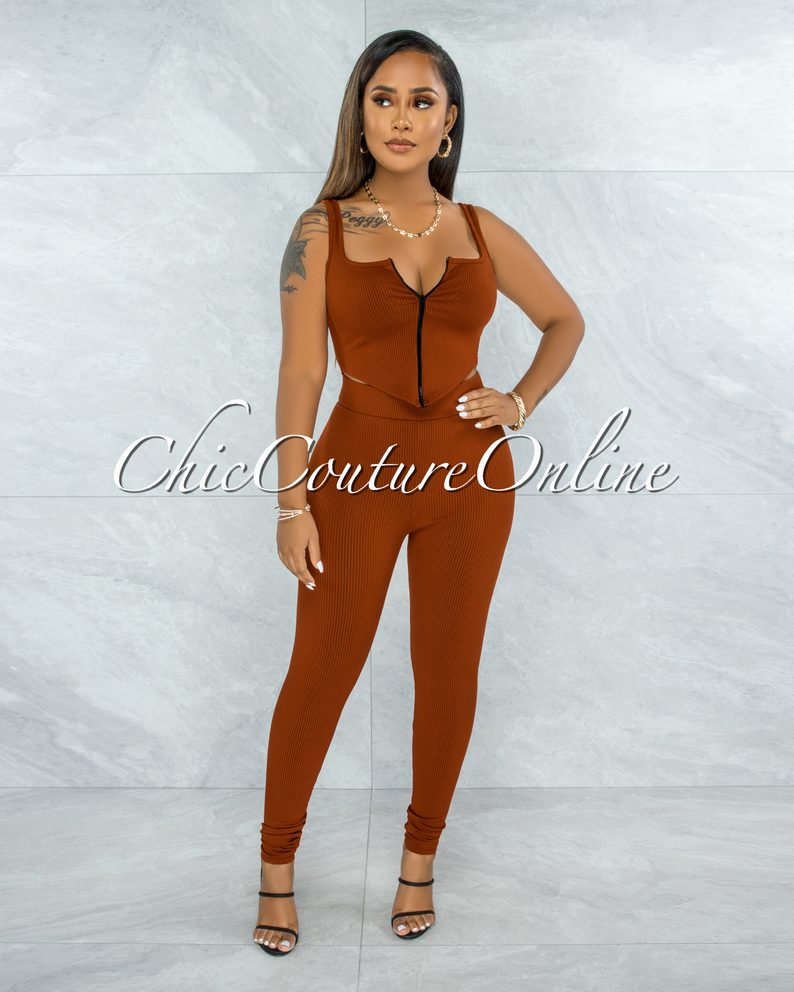 Shabnan Rust Black Zipper Top & Leggings Ribbed Set