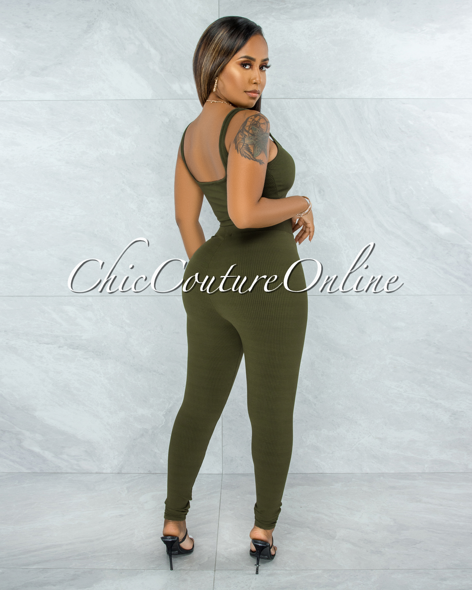 Shabnan Olive Black Zipper Top & Leggings Ribbed Set