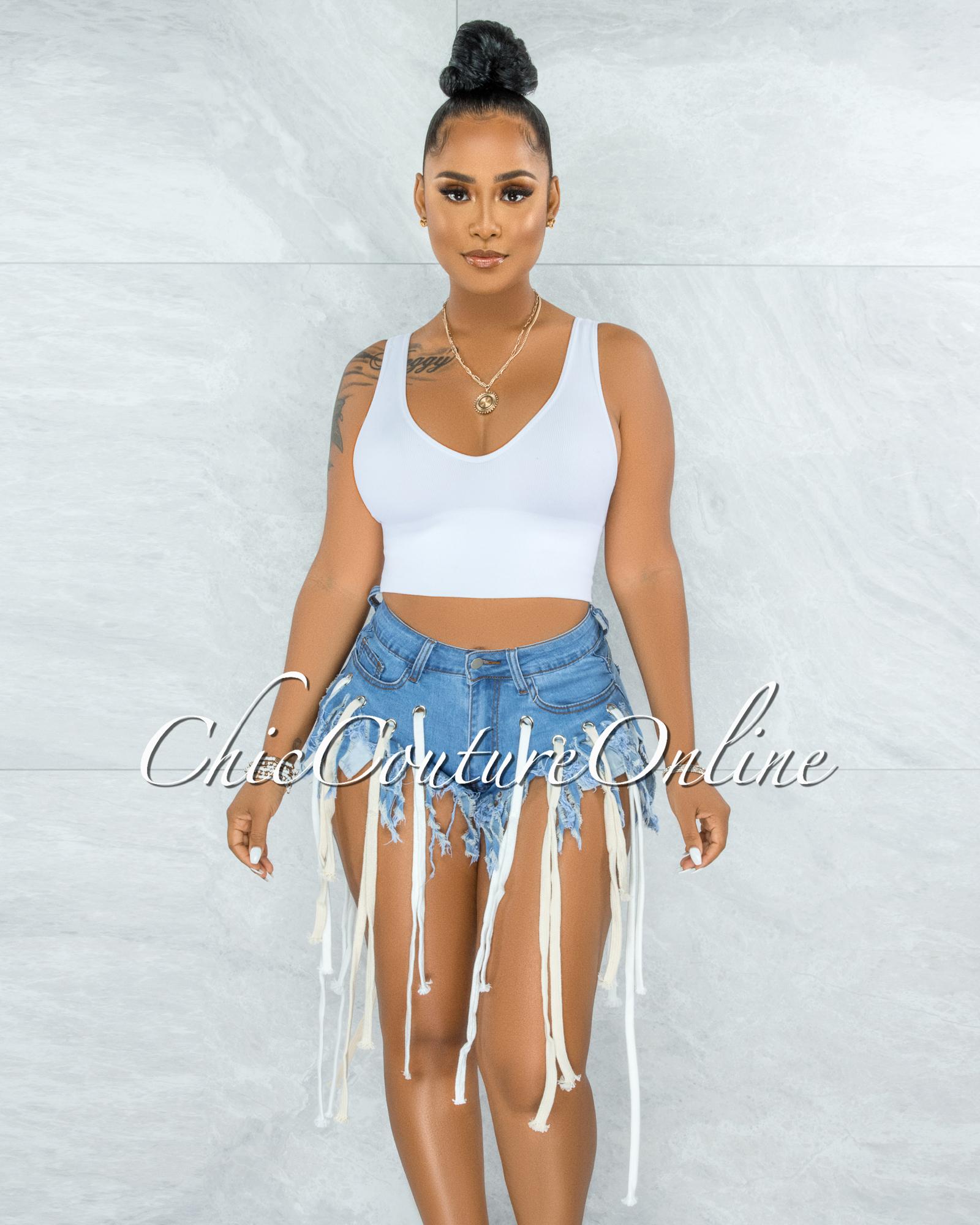 Rozelia Light Blue Denim String Fringe Accent Shorts