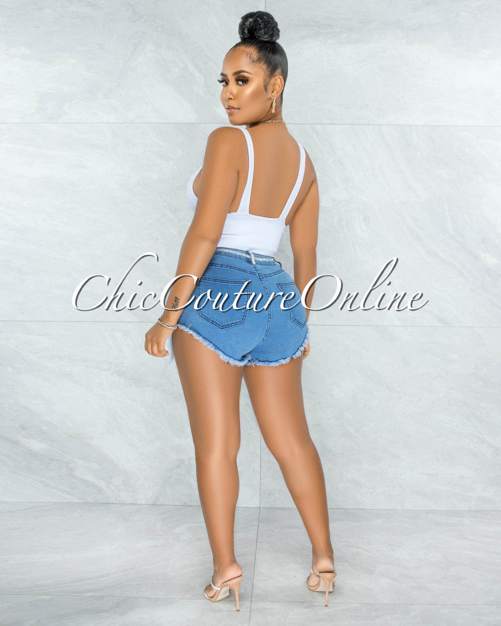 Imaran Blue Denim Rhinestones Trim & Long Pockets Shorts