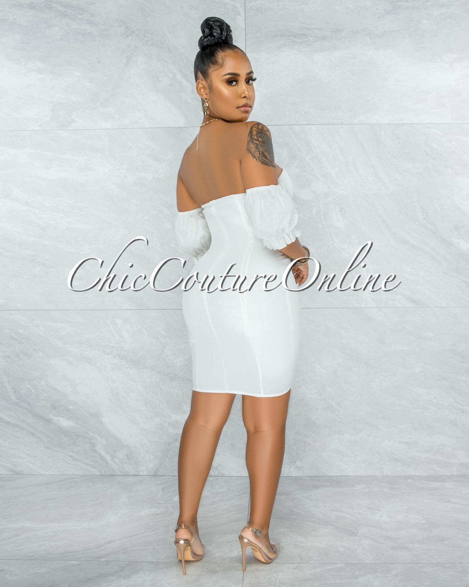 Kealoha Off-White Padded Cups Bubble Sleeves Mini Dress