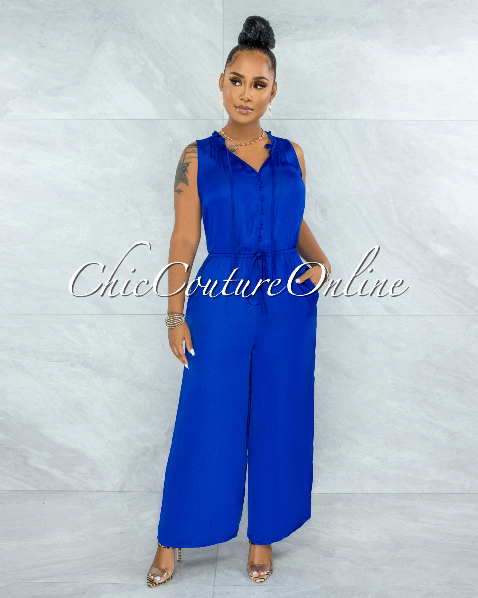 Johanna Royal Blue Front Buttons Wide Jumpsuit