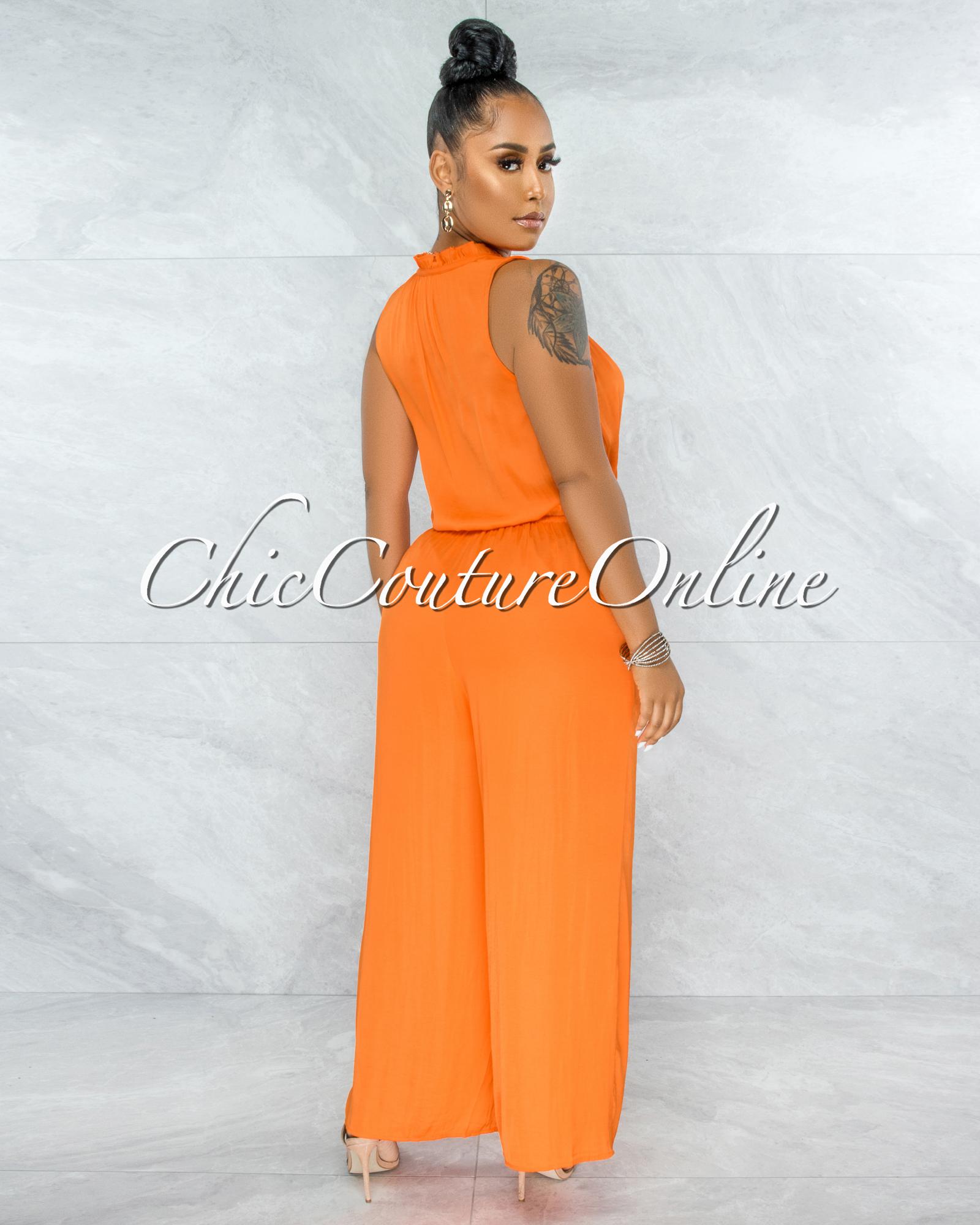 Johanna Orange Front Buttons Wide Jumpsuit