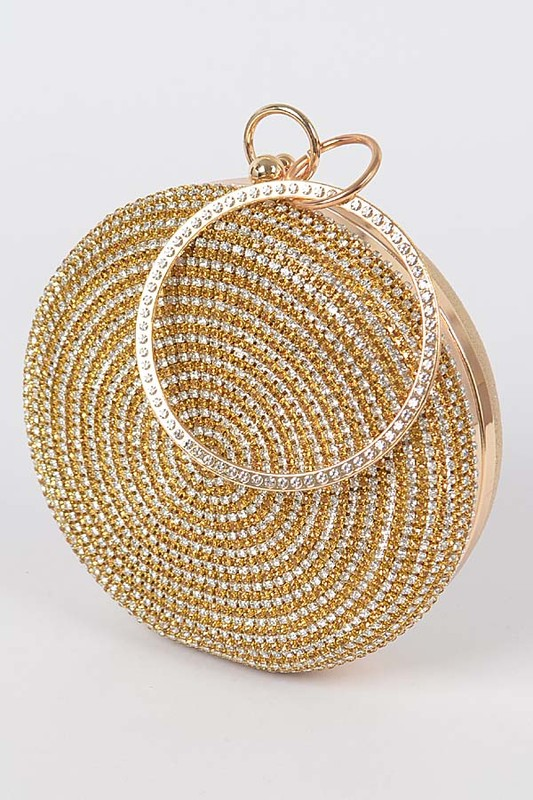 Disco Gold Round Rhinestone Pavé Clutch Bag