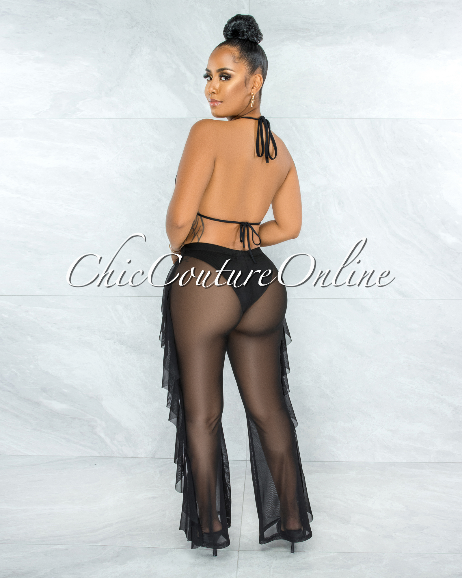 Yardley Black Mesh Cover-Up Ruffle Pants Set