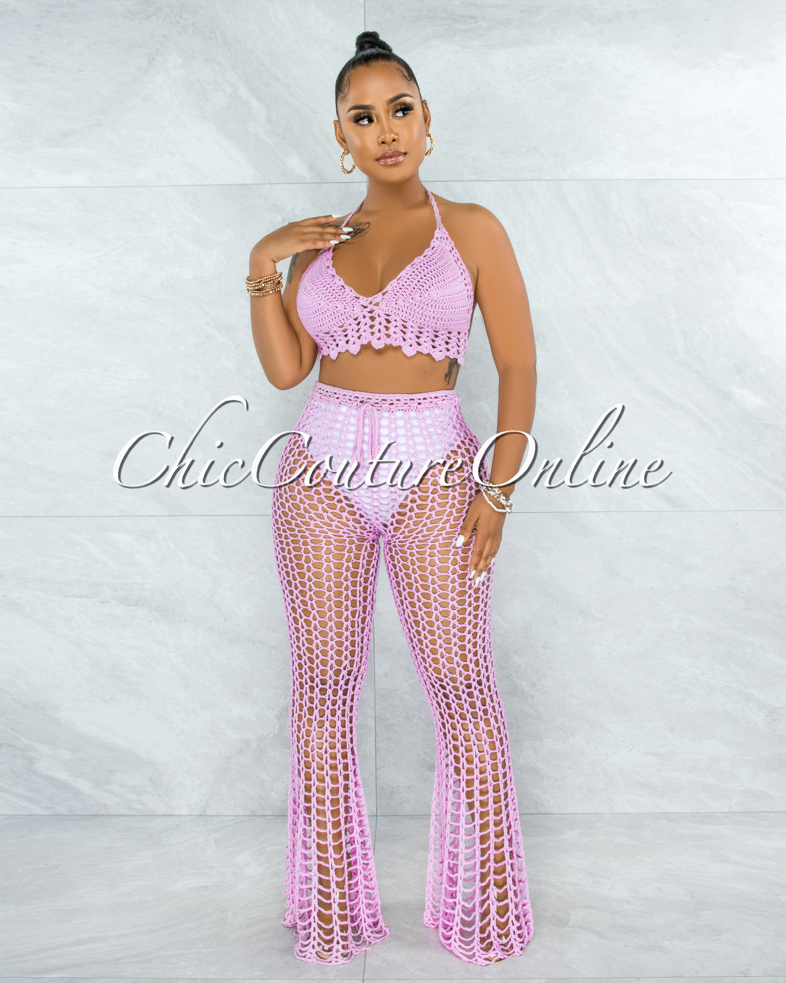 Egesa Pink Crochet Cover-Up Fishnet Set