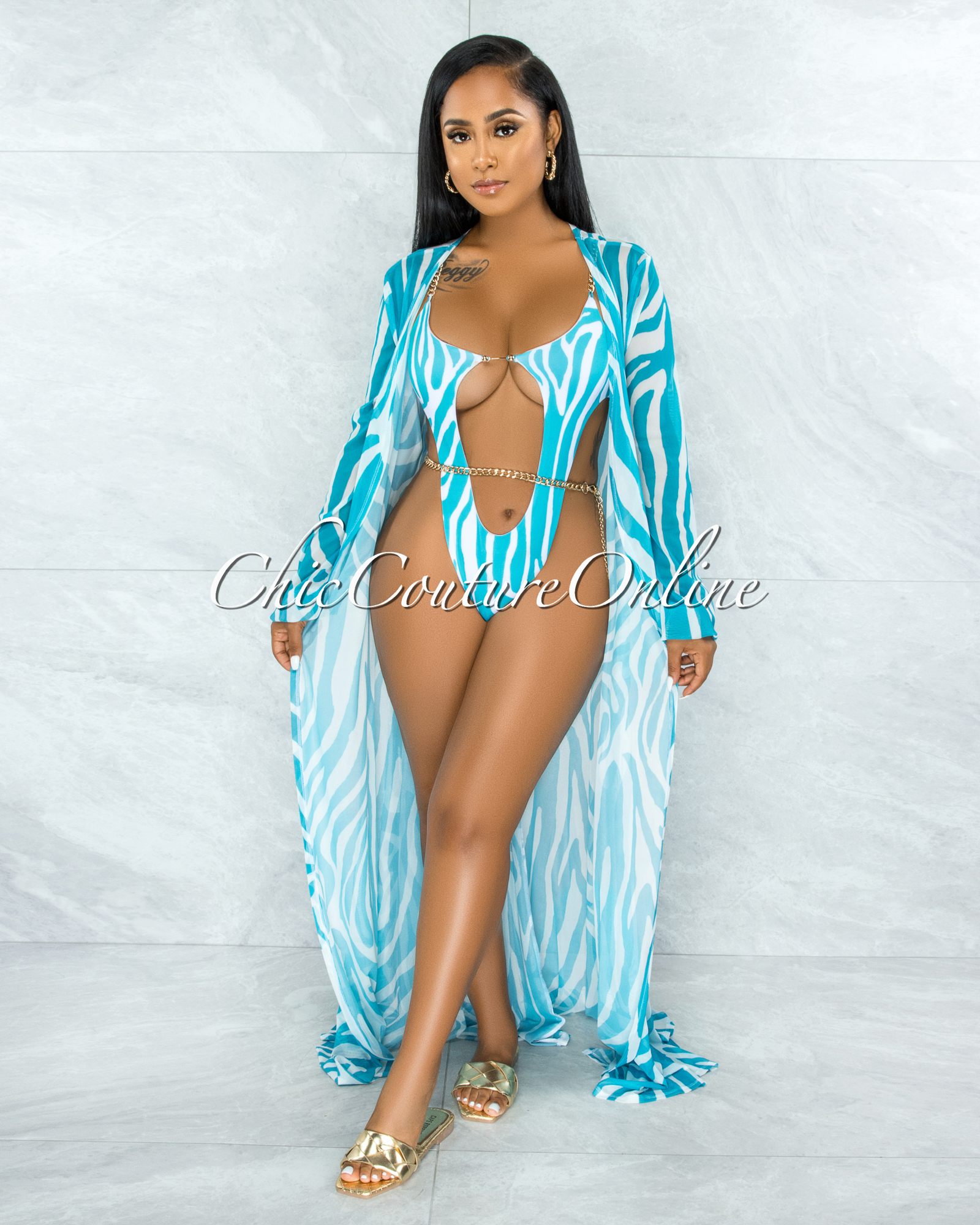 Alden Turquoise White Gold Link Swimsuit Cover-up Set
