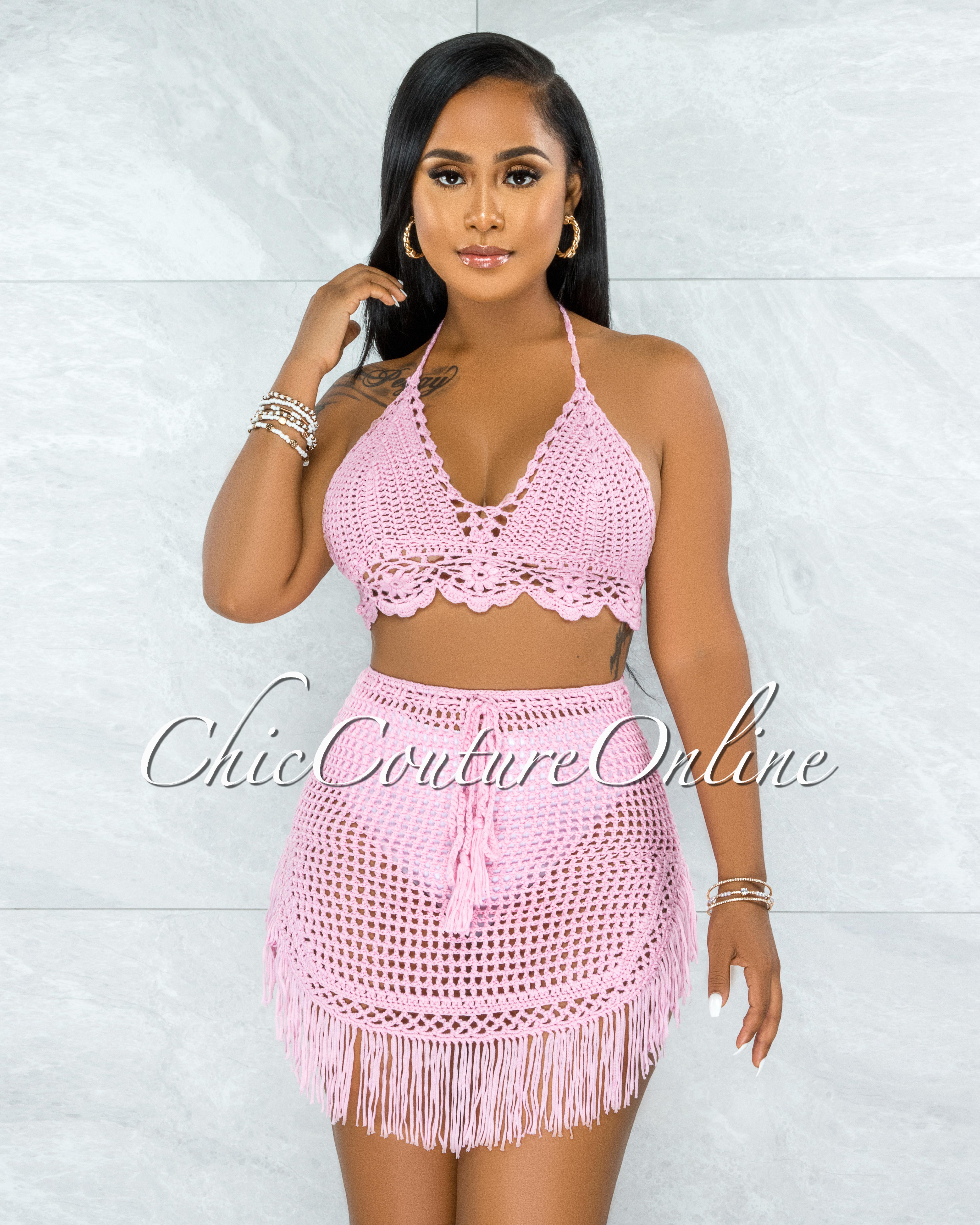 Dodge Pink Crochet Cover-Up Fringe Skirt Set