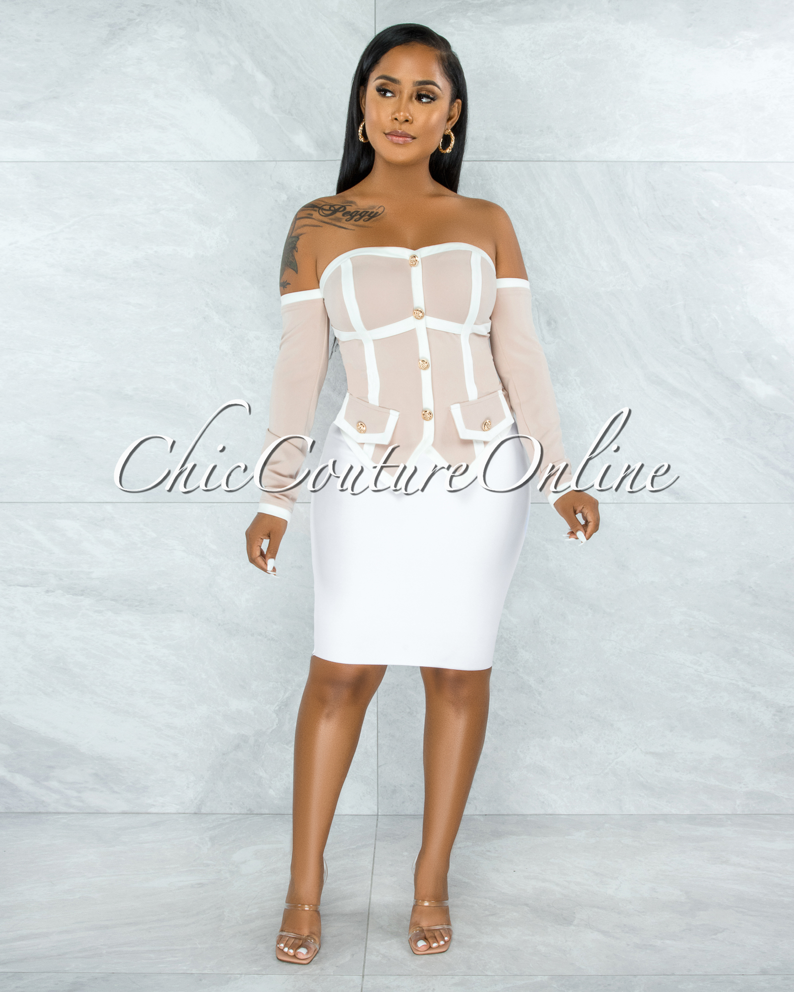 Vanetta Nude White Trim Gold Buttons Pointy Hem Top