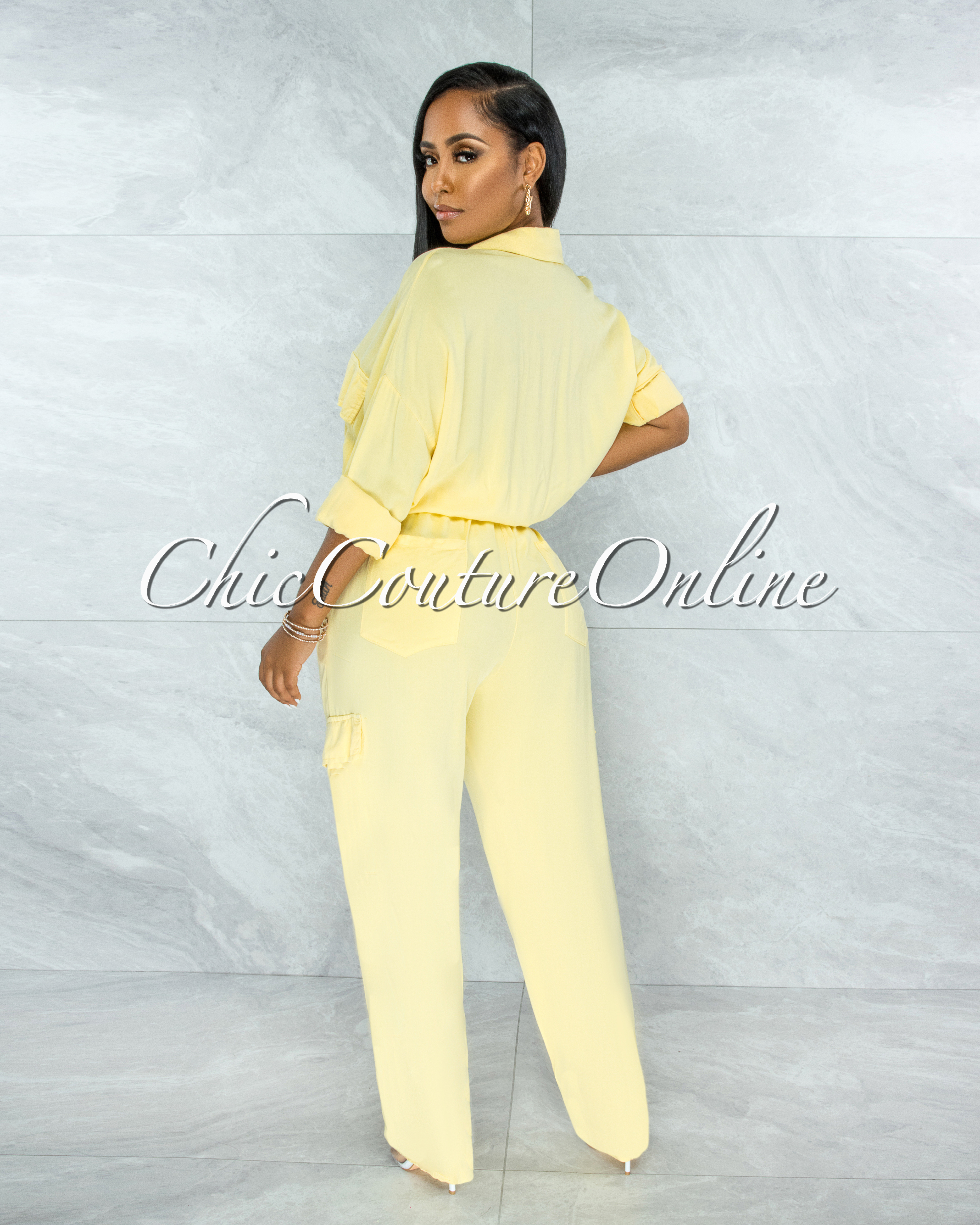 Nephele Yellow Front Buttons Utility Jumpsuit