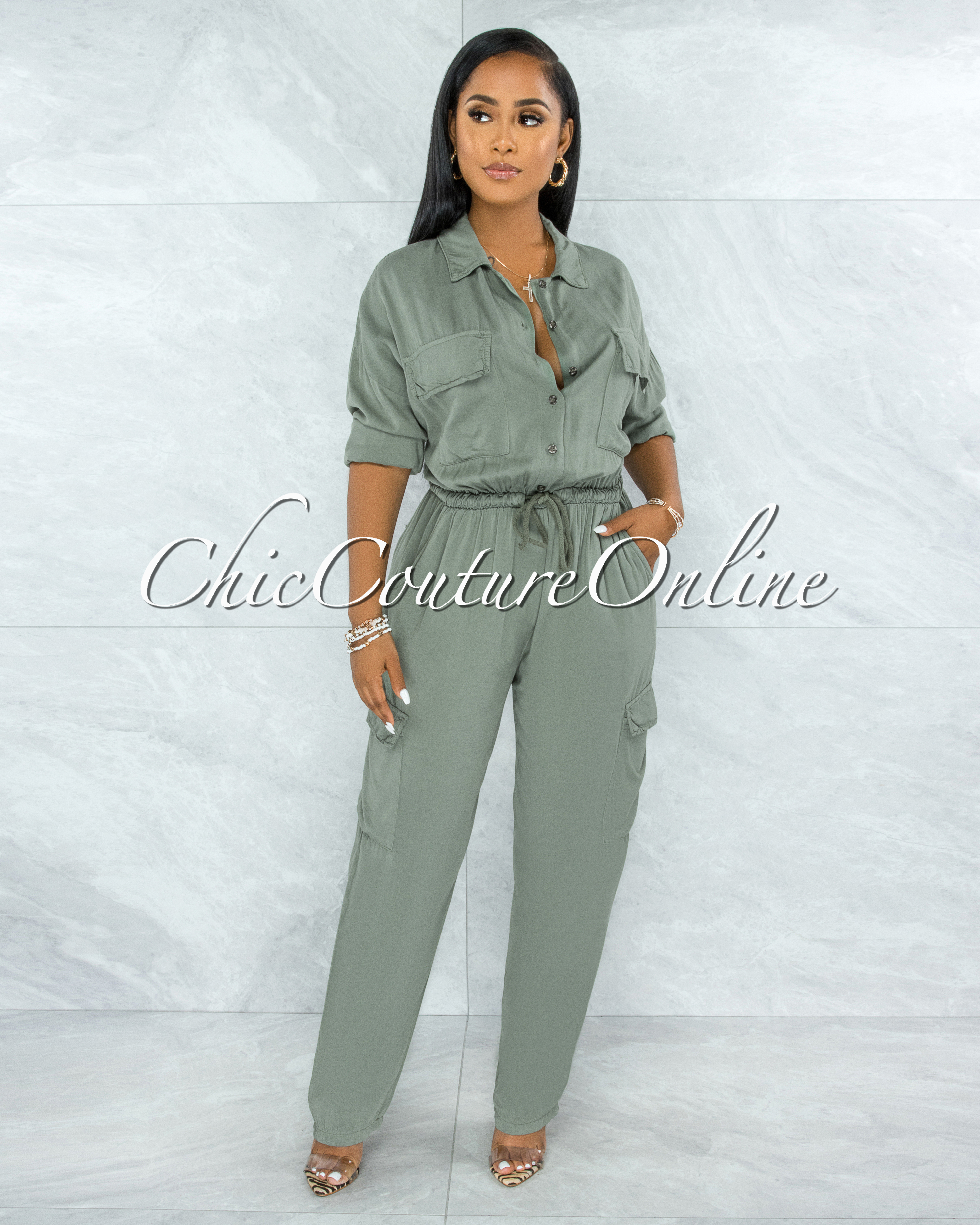 Nephele Olive Green Front Buttons Utility Jumpsuit