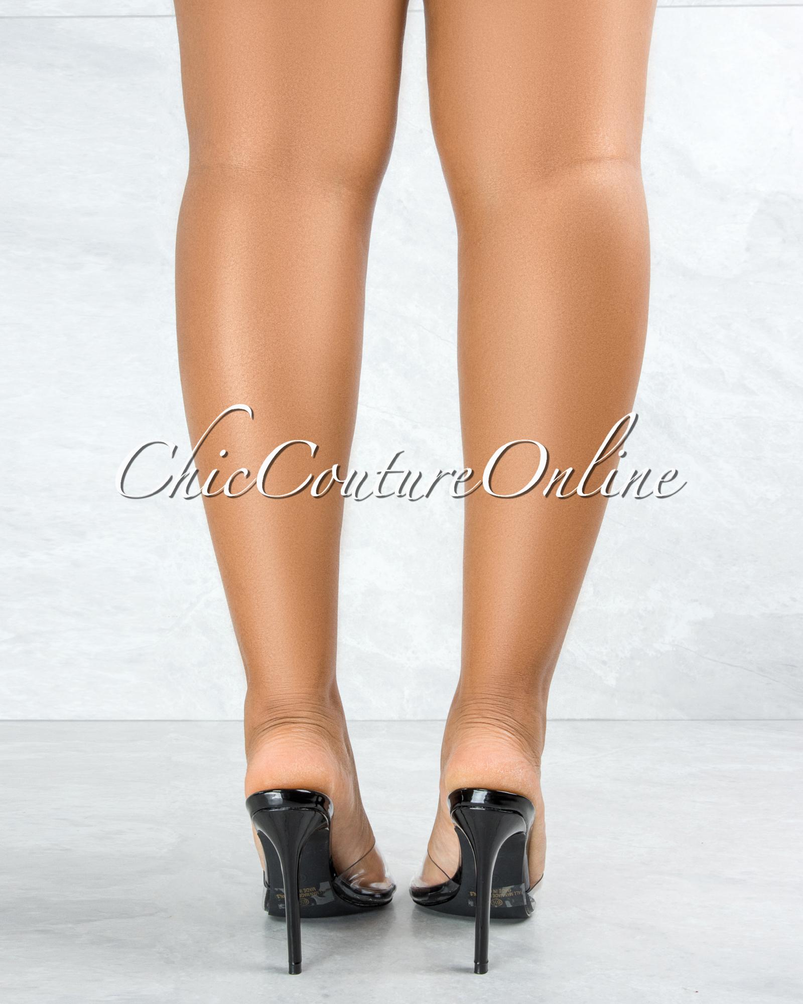 Echo Black Sole Clear Upper Pointed Toe Heels