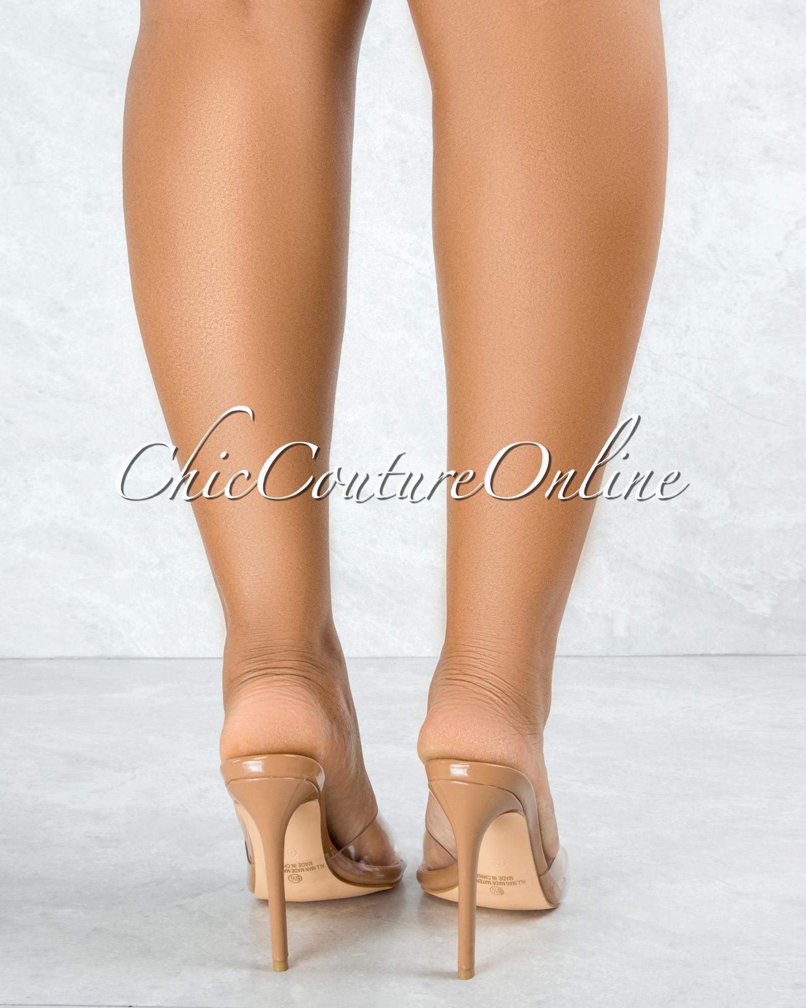 Echo Mocha Sole Clear Upper Pointed Toe Heels