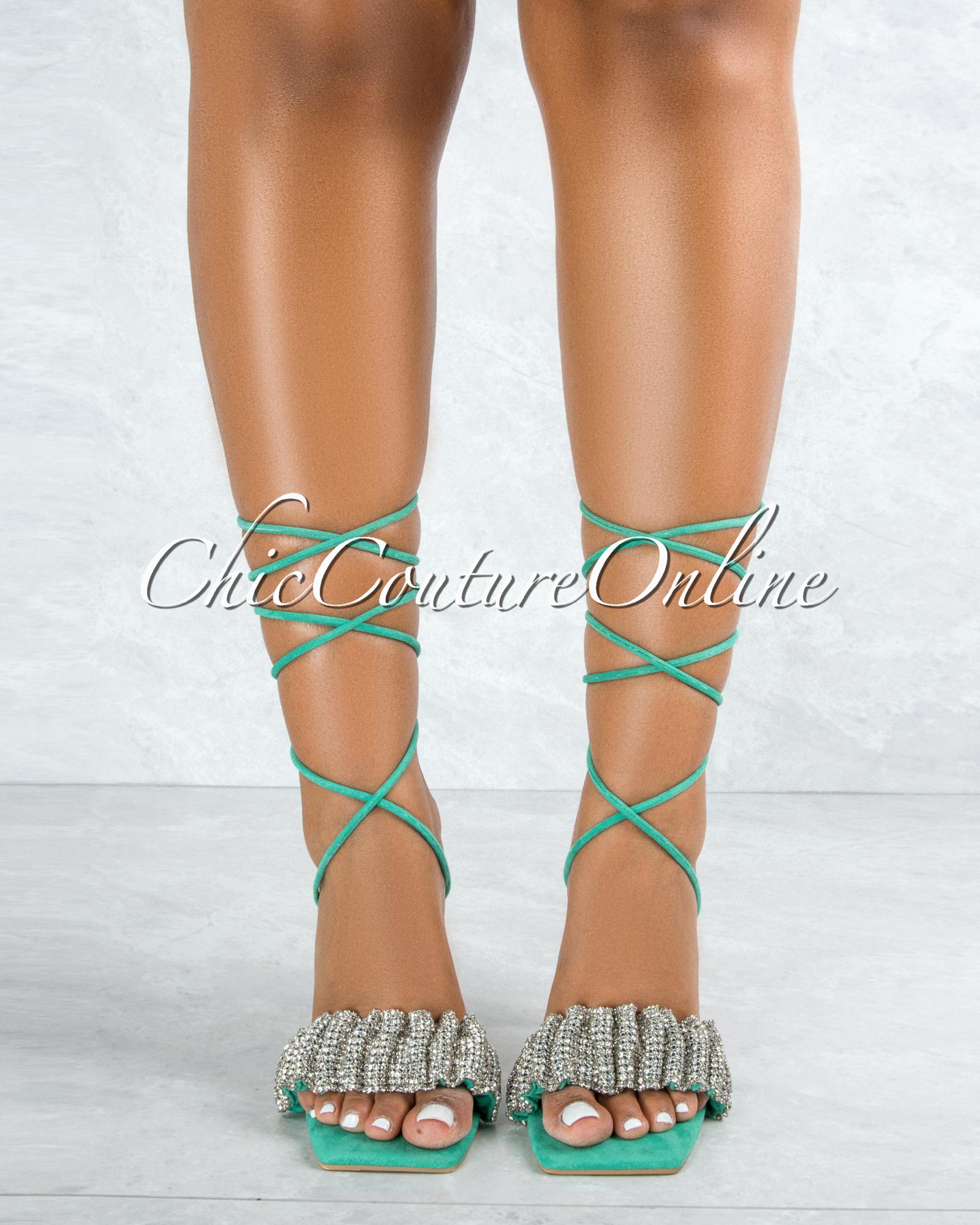 Angel Green Sole Silver Rhinestones Strap Lace-Up Heels