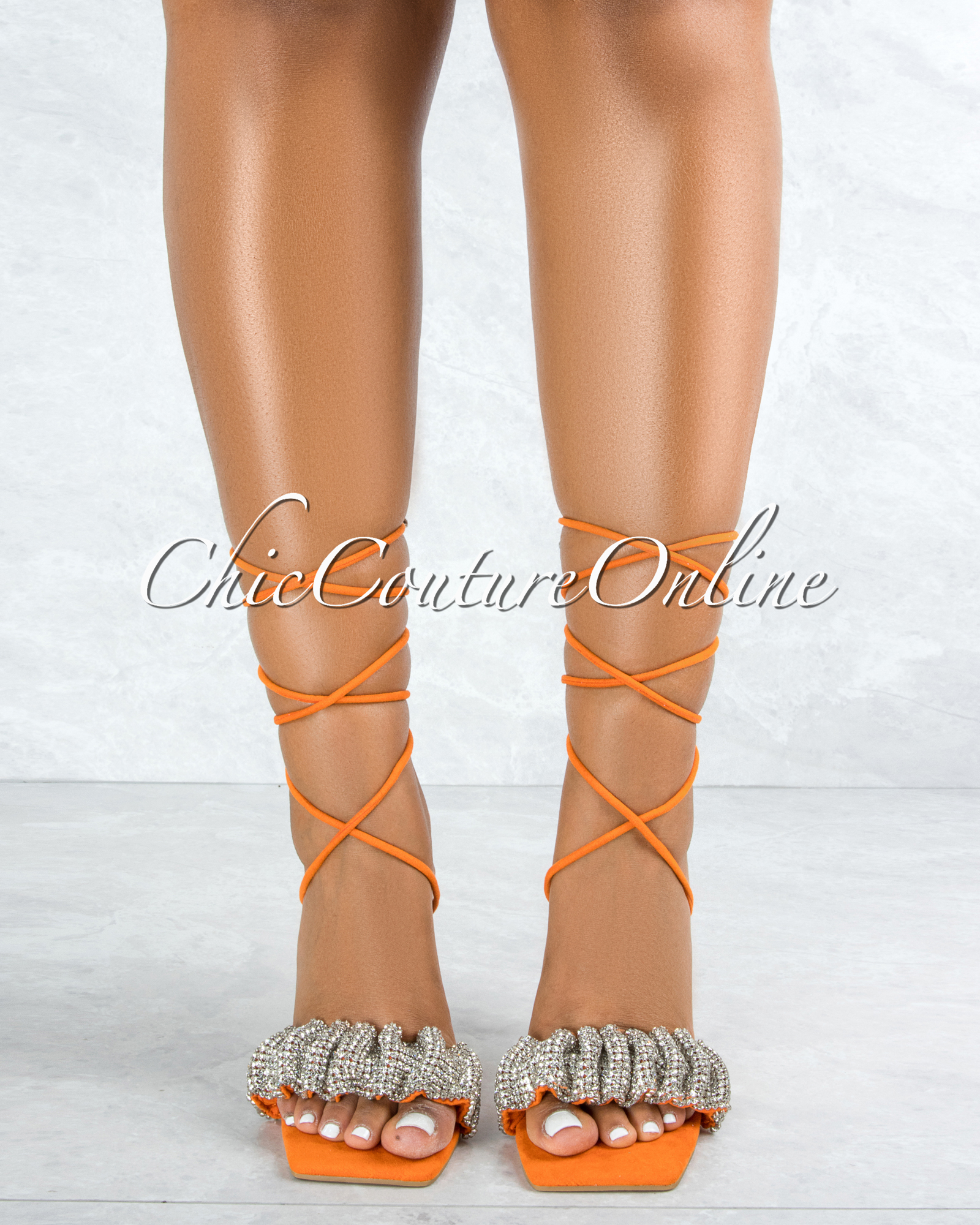 Angel Orange Sole Silver Rhinestones Strap Lace-Up Heels