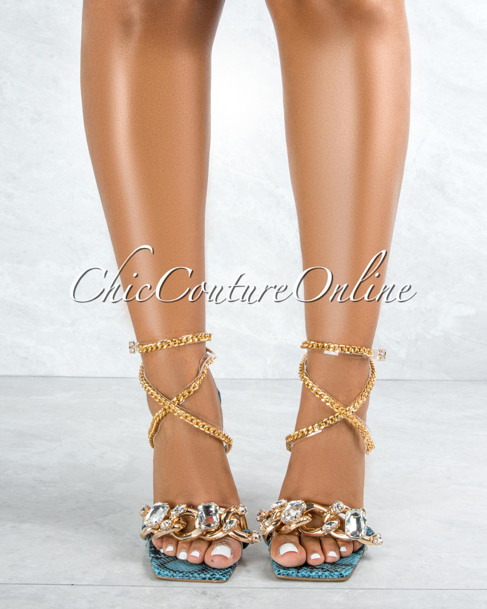 Obsessed Blue Snake Sole Rhinestones Strap Gold Link Heels
