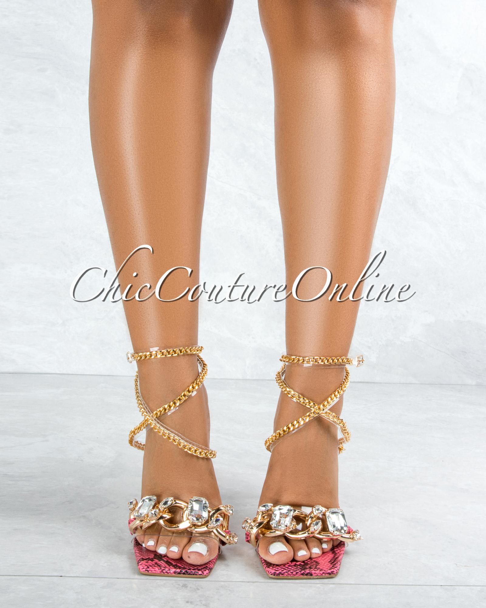 Obsessed Fuchsia Snake Sole Rhinestones Strap Gold Link Heels