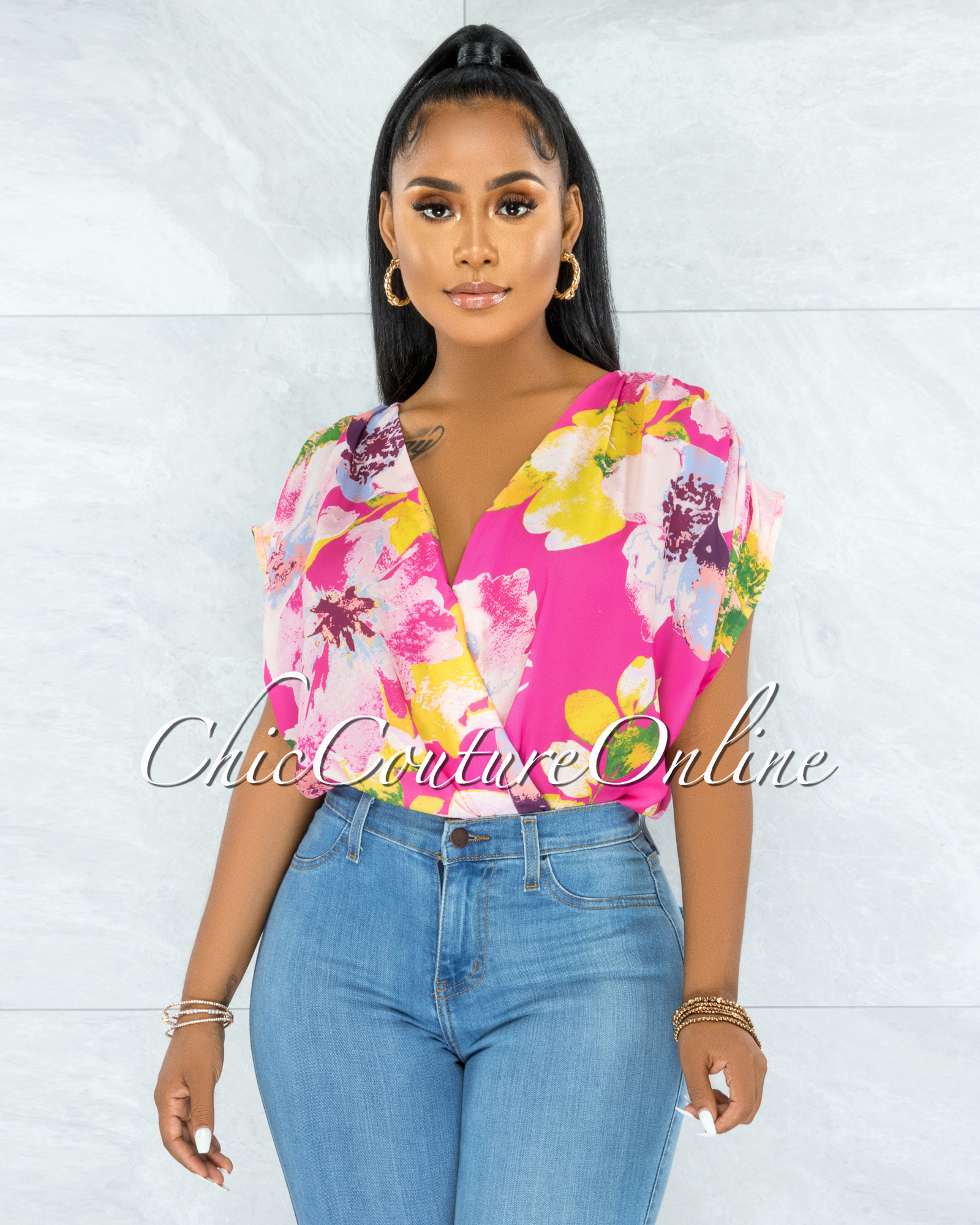 Luan Pink Multi-Color Floral Print Ruched Sleeves Bodysuit