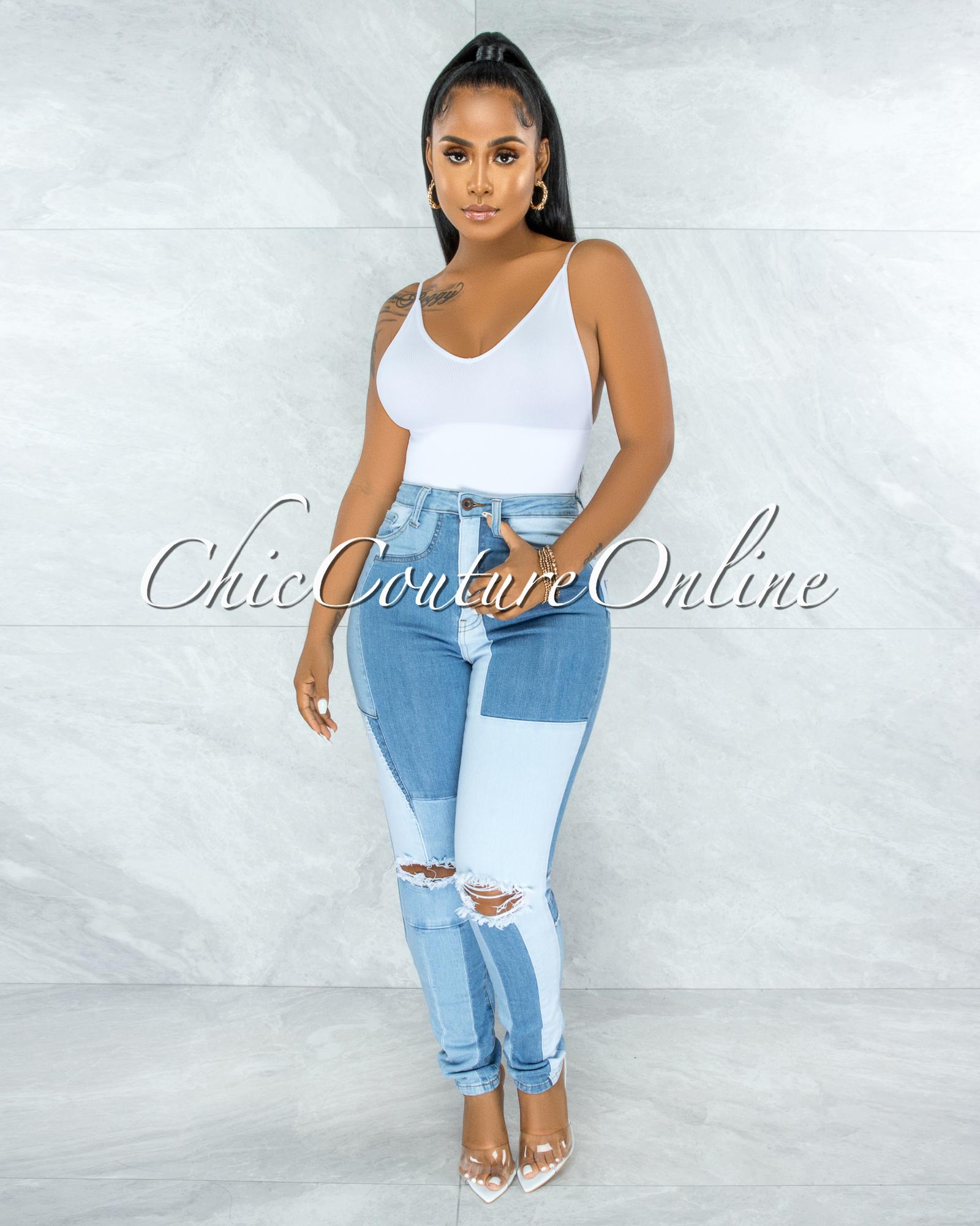 Golding Medium DIY Illusion Denim High-Waist Jeans