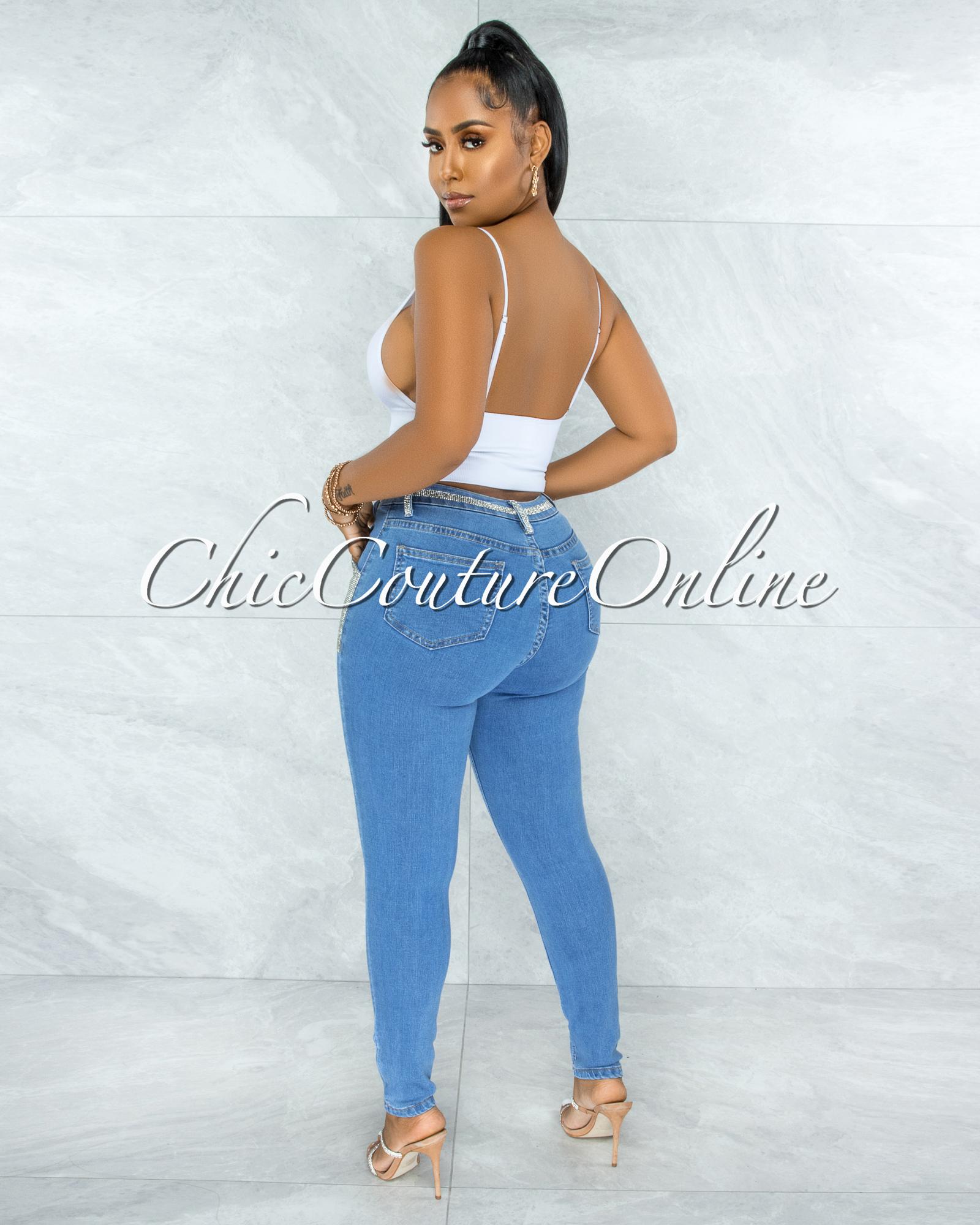 Hazaiah Blue Denim Rhinestones Pockets Jeans