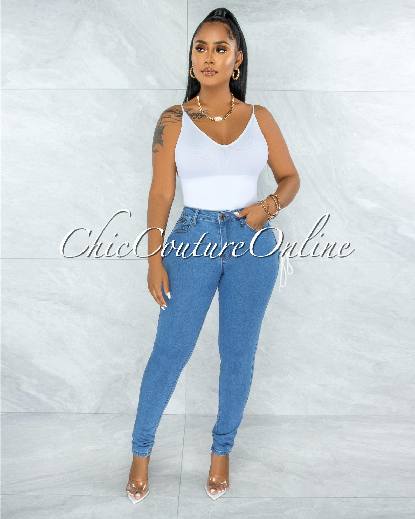 Lanny Blue Denim White Lace-Up Cut Out Accent Jeans