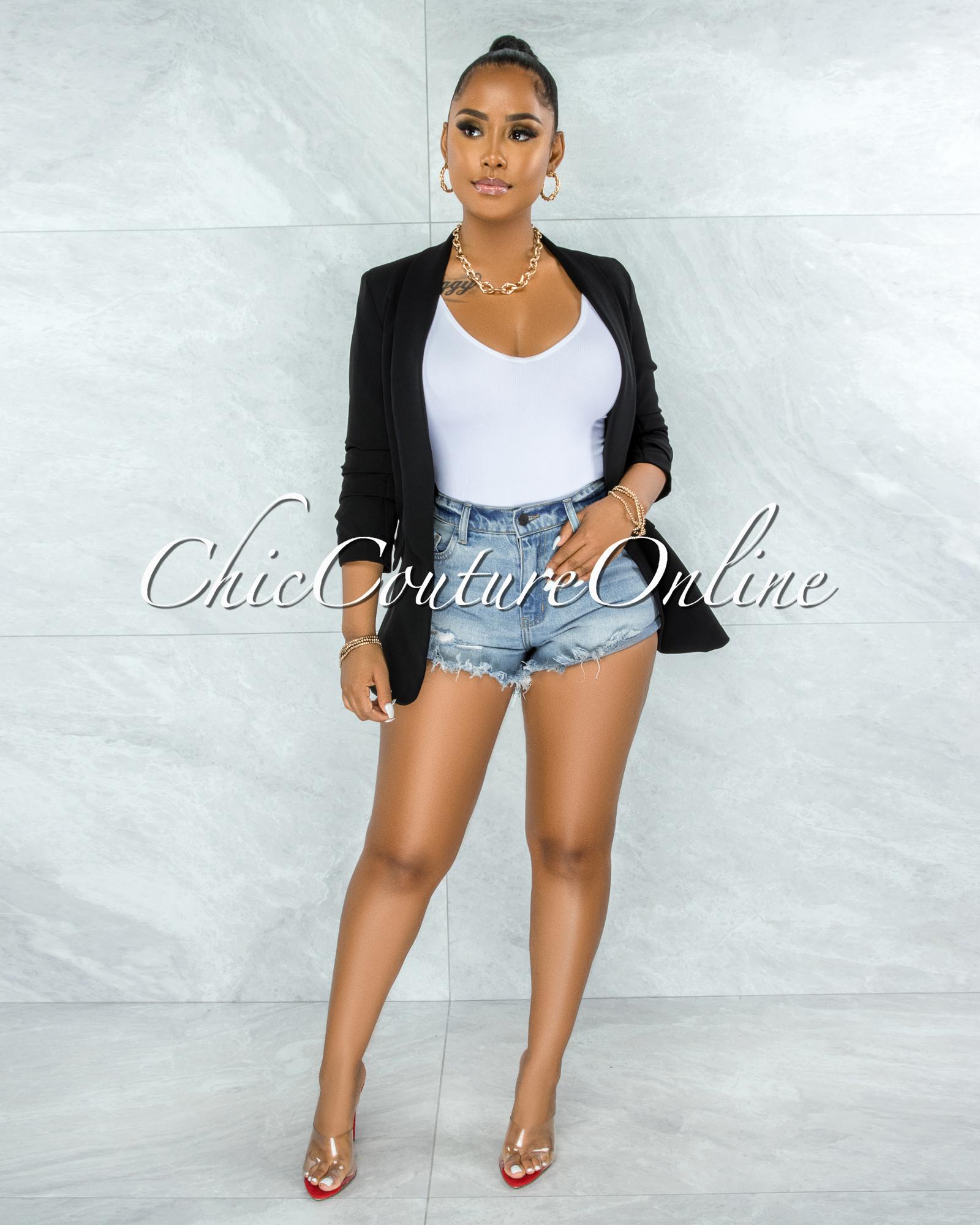 Stephanelle Black Boyfriend Long Blazer