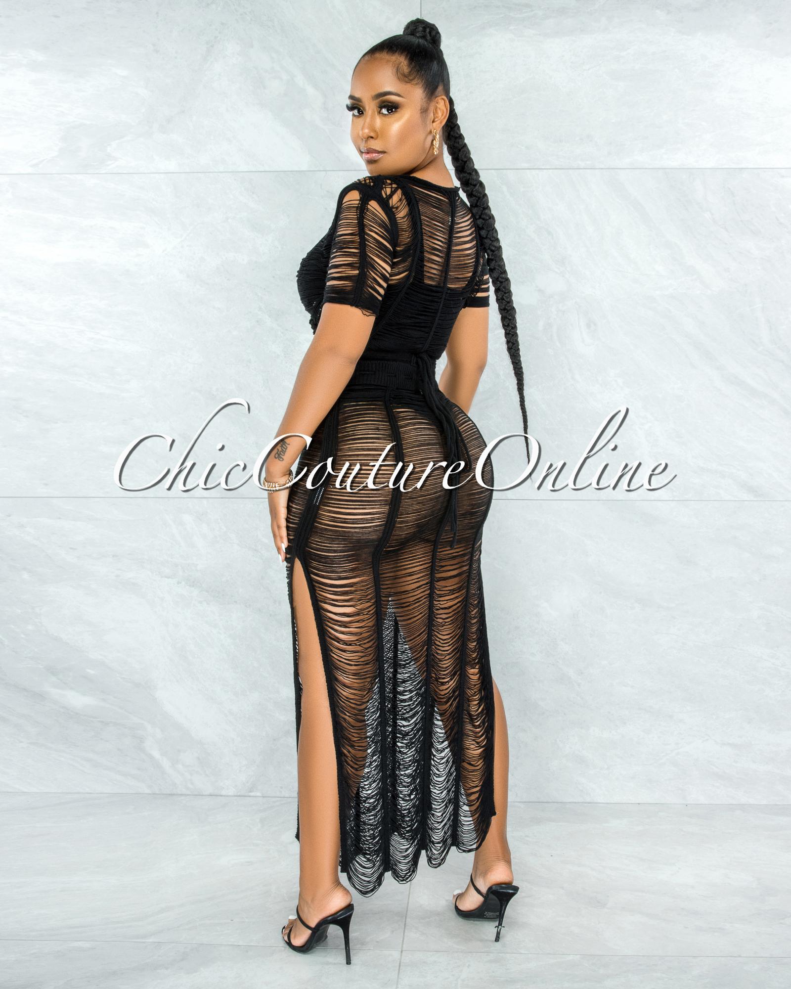 Bulat Black Crochet Cover-Up Maxi Skirt Set