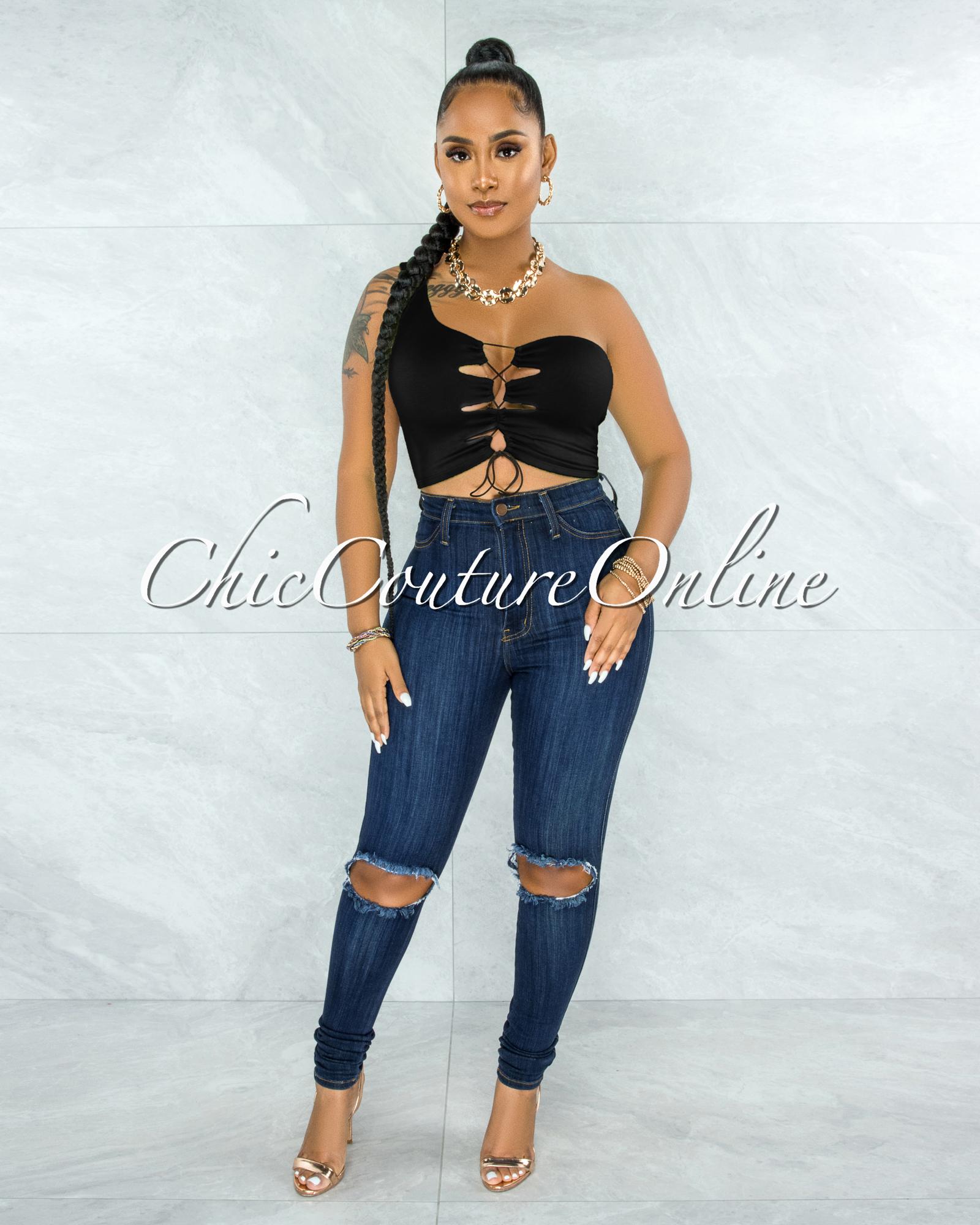 Hallie Black Single Shoulder Lace-Up Front Crop Top