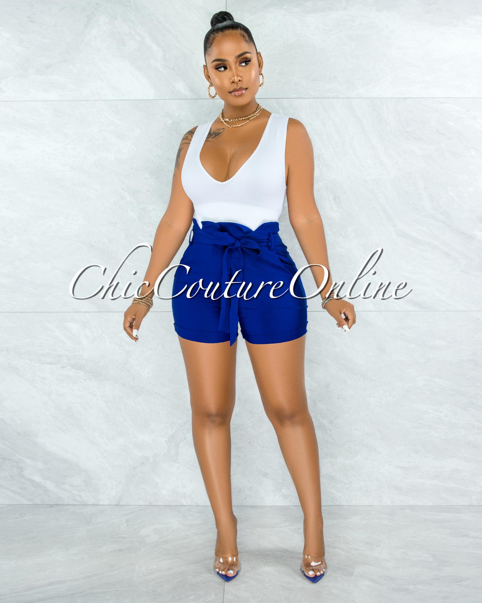 Parthenia Royal Blue Paper Bag Waist Self-Tie Belt Shorts