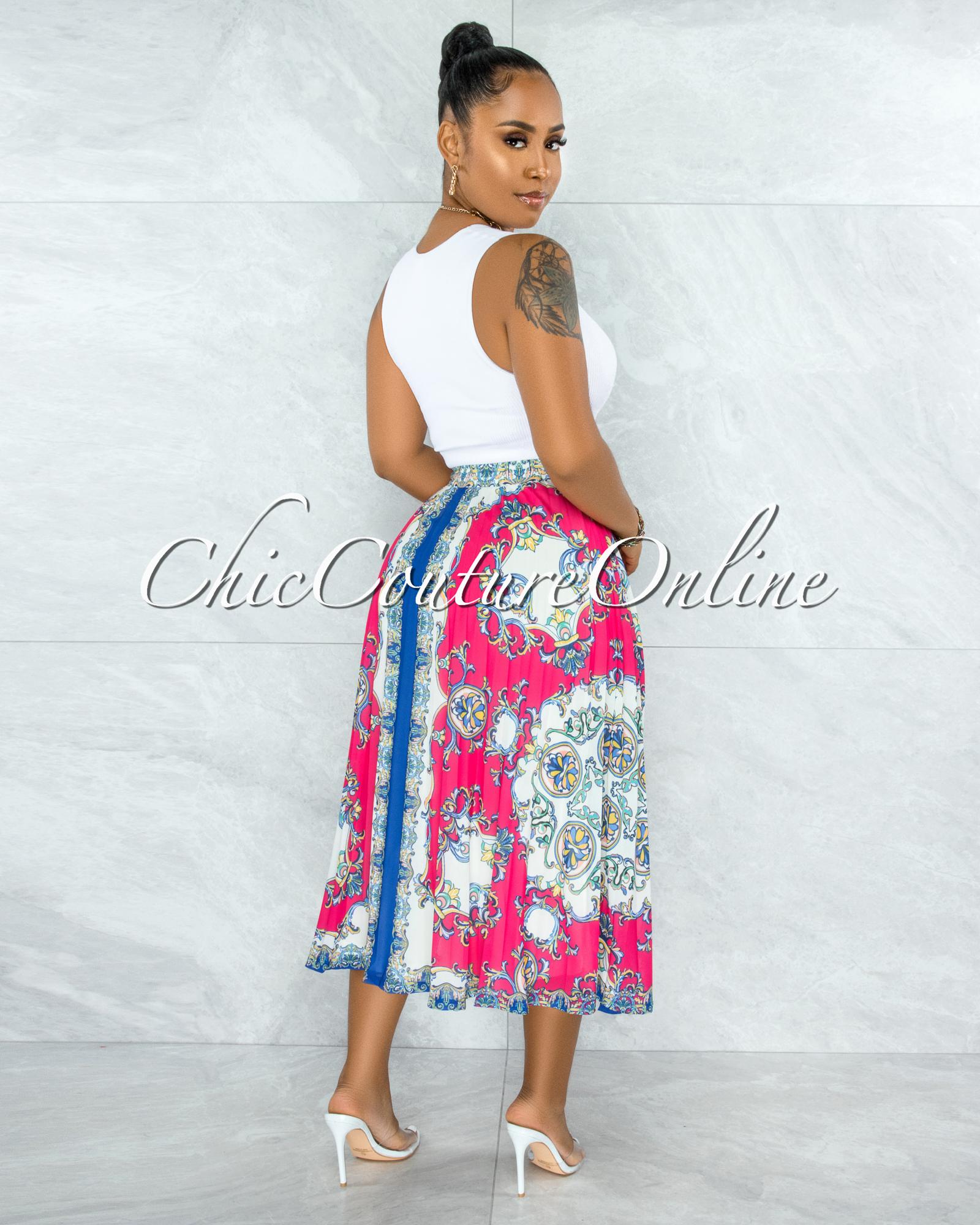 Sameh Fuchsia Multi-Color Print Pleated Midi Skirt