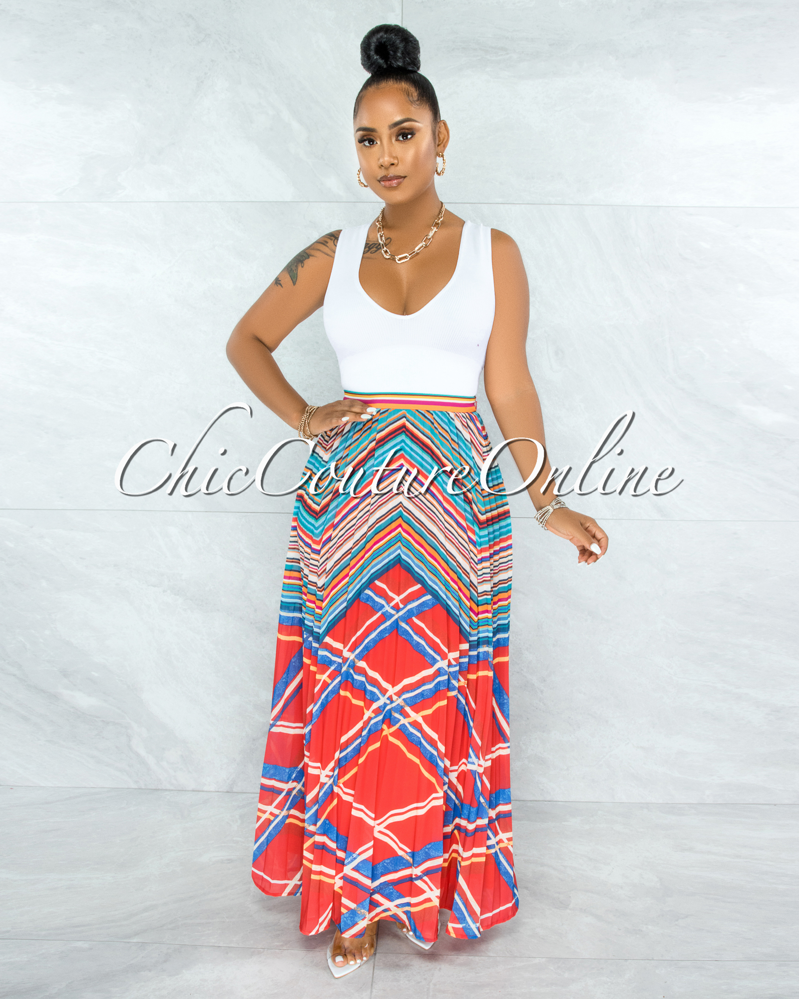 Guaco Red Multi-Color Stripes Pleated Maxi Skirt