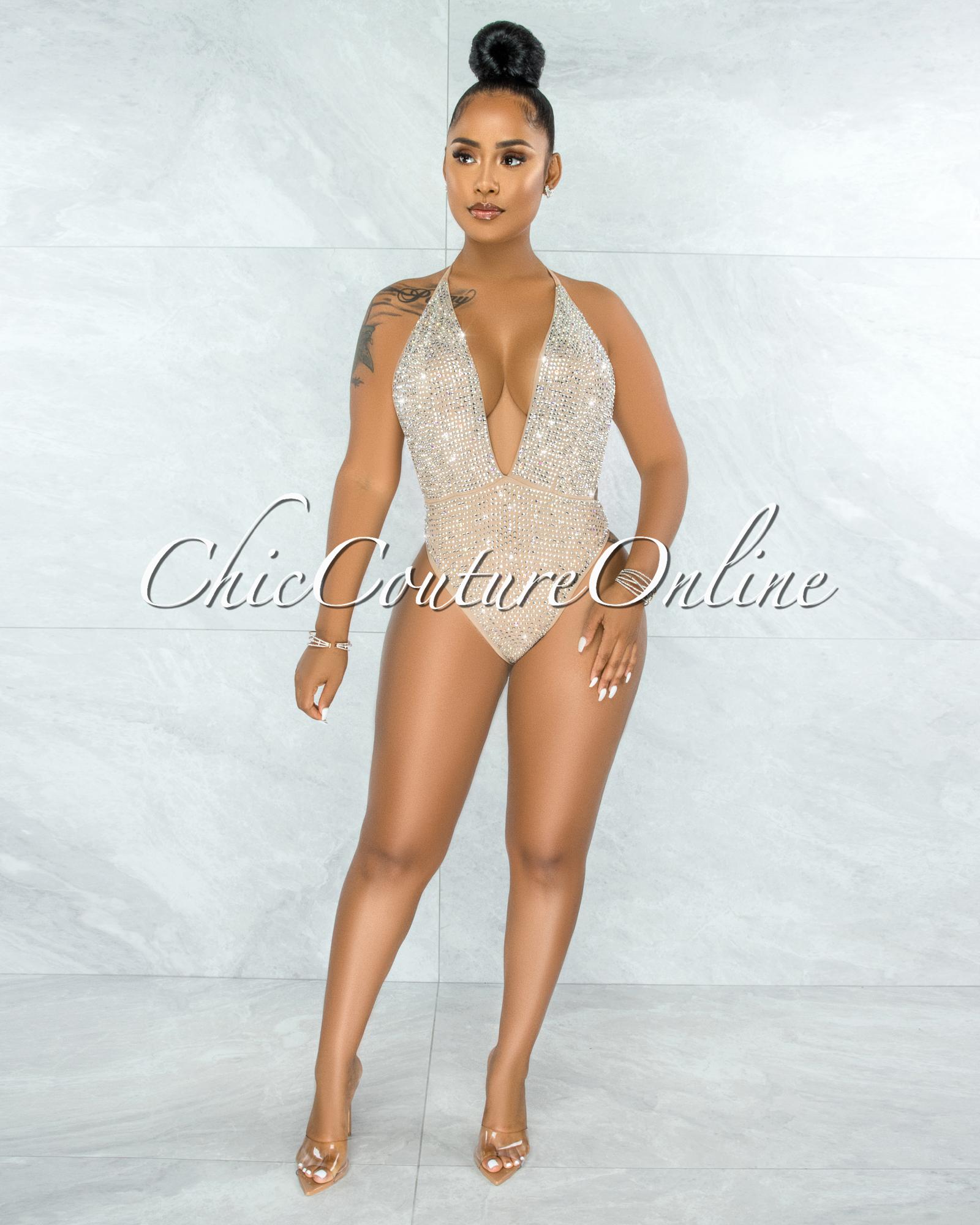 Jeanmary Nude Rhinestones Embellishment Bodysuit