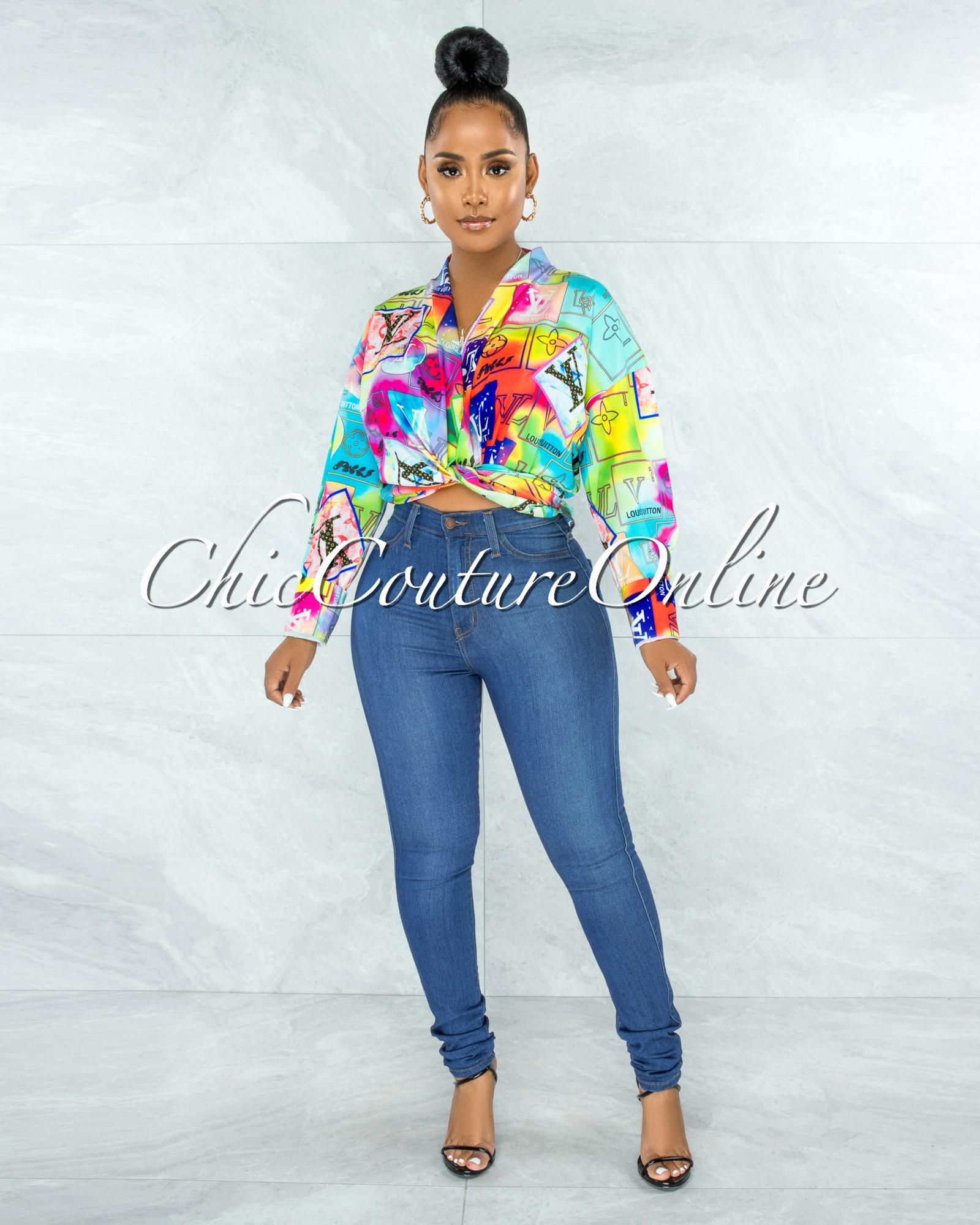 Santana Multi-Neon Color Print Front Tie Blouse