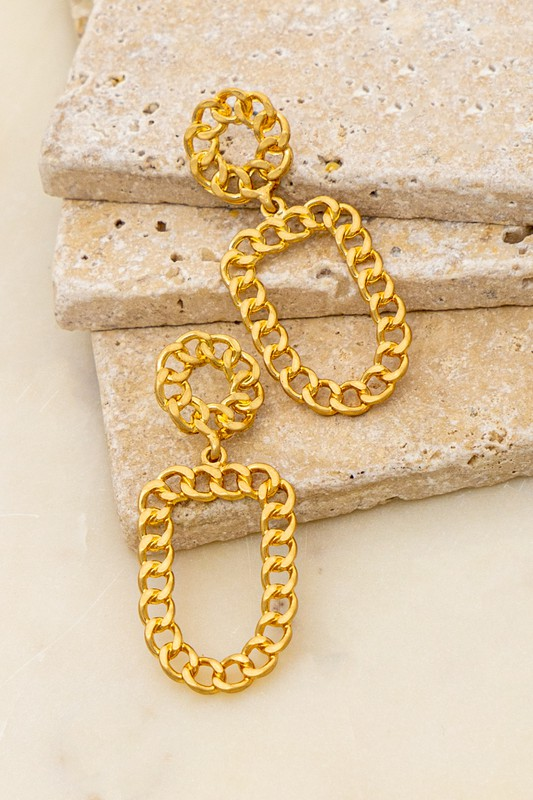 Lottie Gold Curb Chain Round and Oval Hoop Earrings