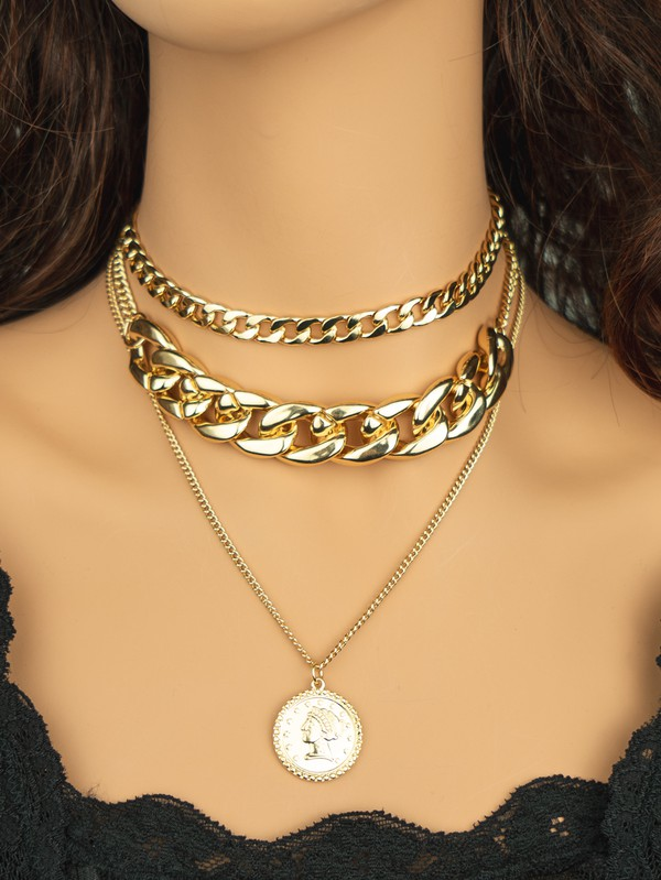 Laurie Gold 3 Necklaces Set with Chunky Chain and Coin Charm