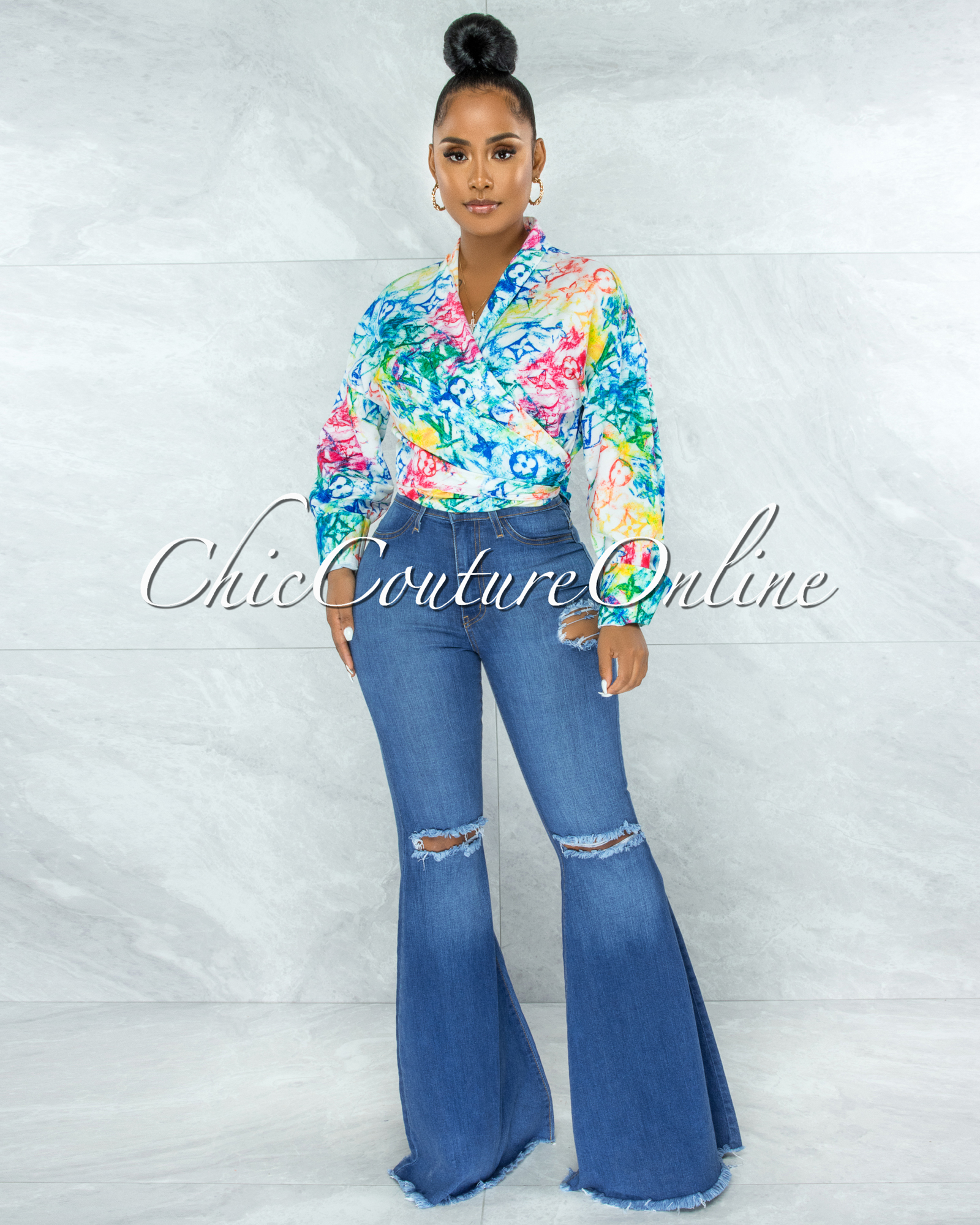 Santana White Green Blue Print Front Tie Blouse