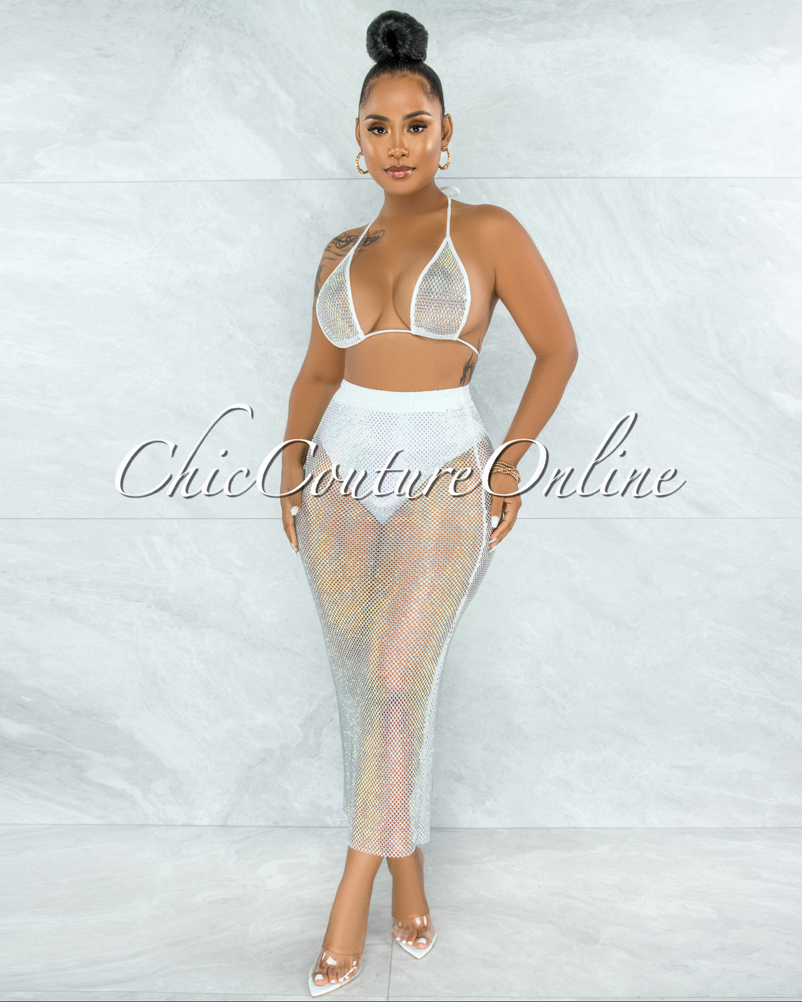 Mitzi White Iridescent Rhinestones Cover-Up Fishnet Set