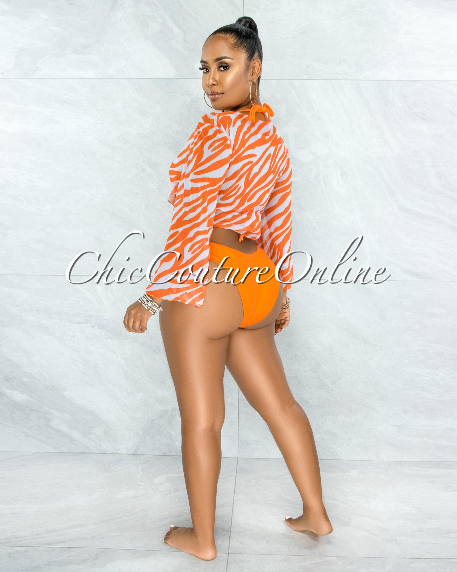 Ellard Orange White Zebra Print Three Piece Set Swimsuit