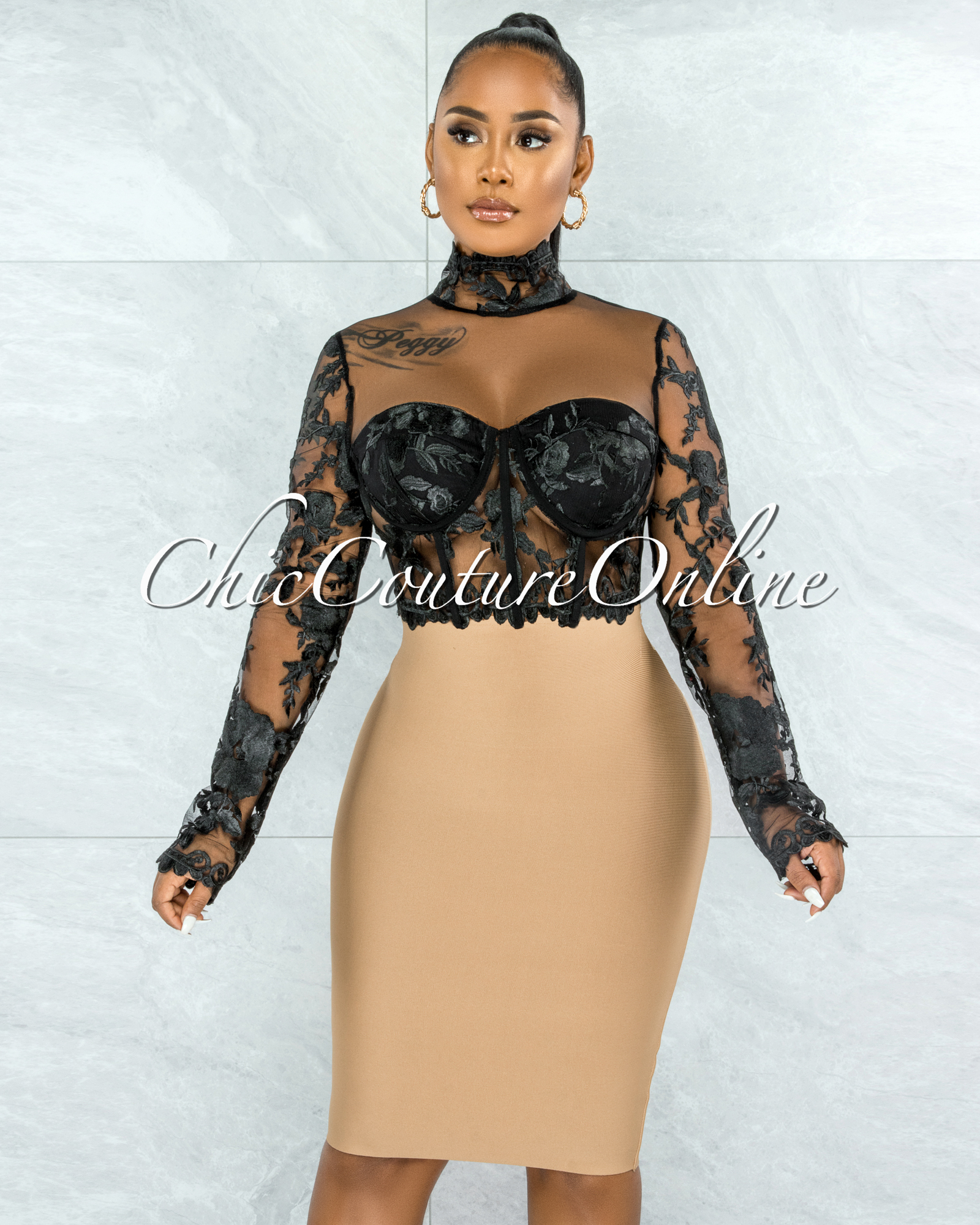 Elmore Black Padded Cups Embroidery Tulle Sheer Top