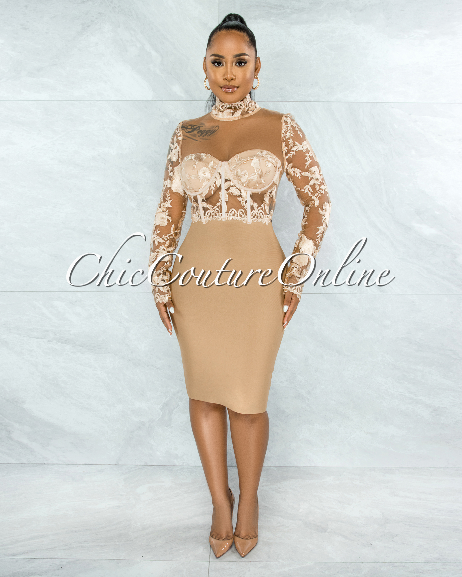 Elmore Nude Padded Cups Embroidery Tulle Sheer Top