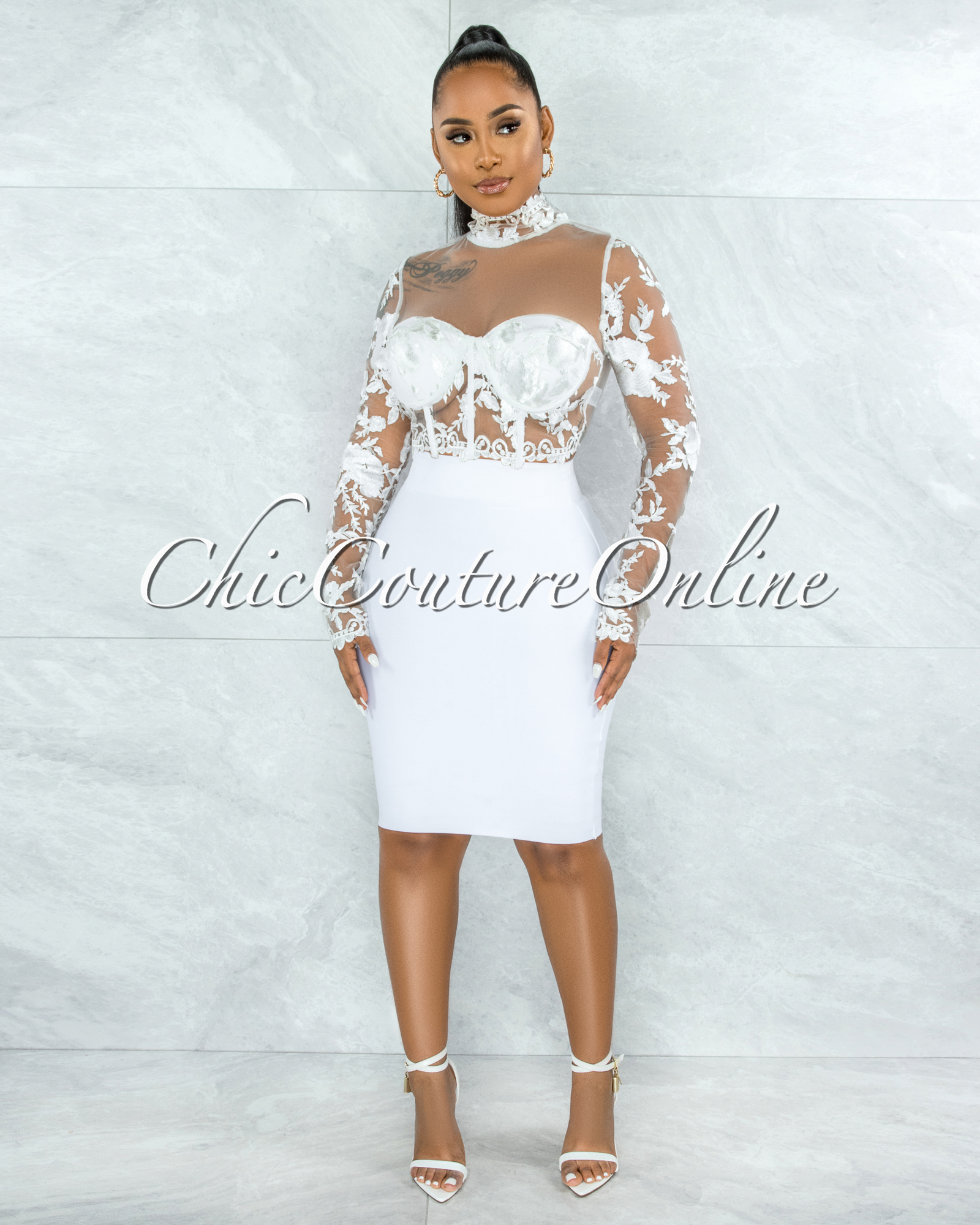 Elmore White Padded Cups Embroidery Tulle Sheer Top