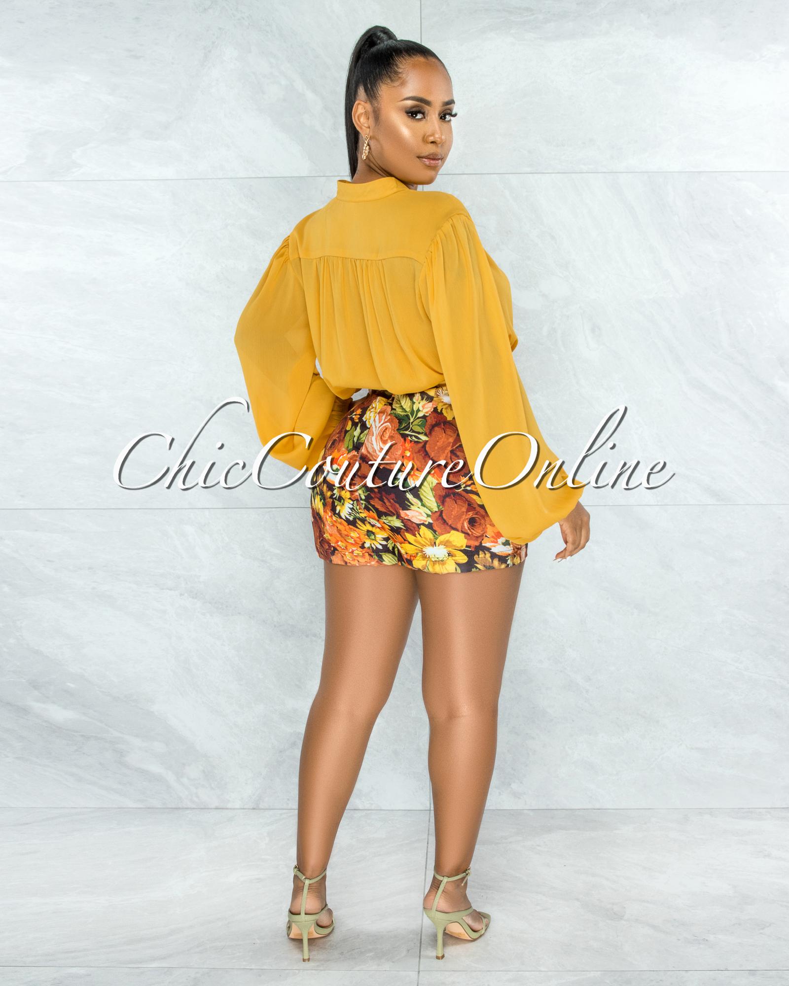 Landmari Mustard Long Sleeves Buttoned Blouse