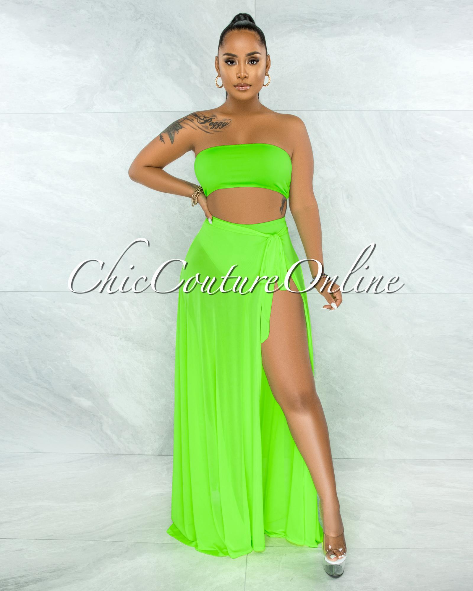 Palmira Neon Green Mesh Pareo Three Piece Set Swimsuit