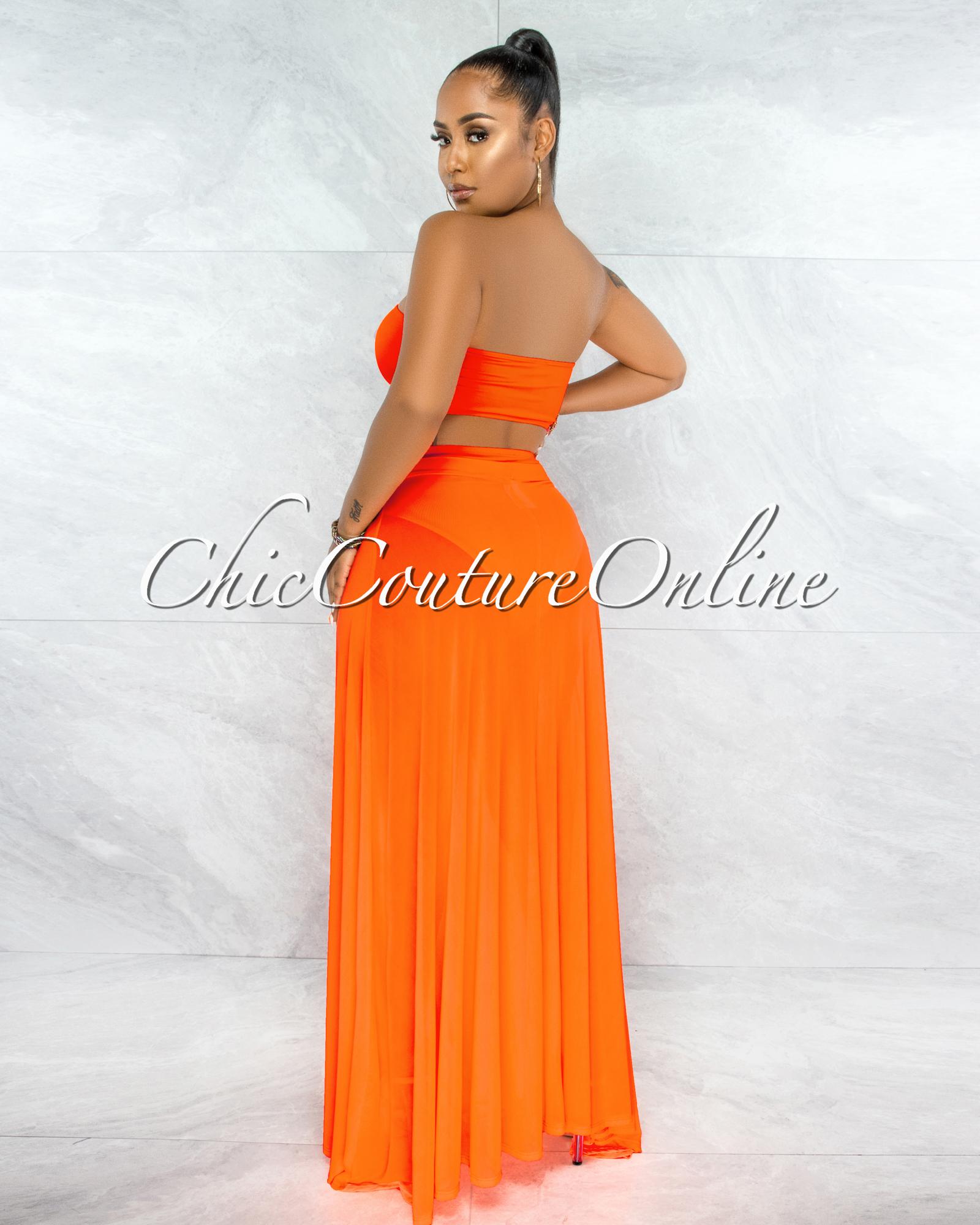 Palmira Neon Orange Mesh Pareo Three Piece Set Swimsuit